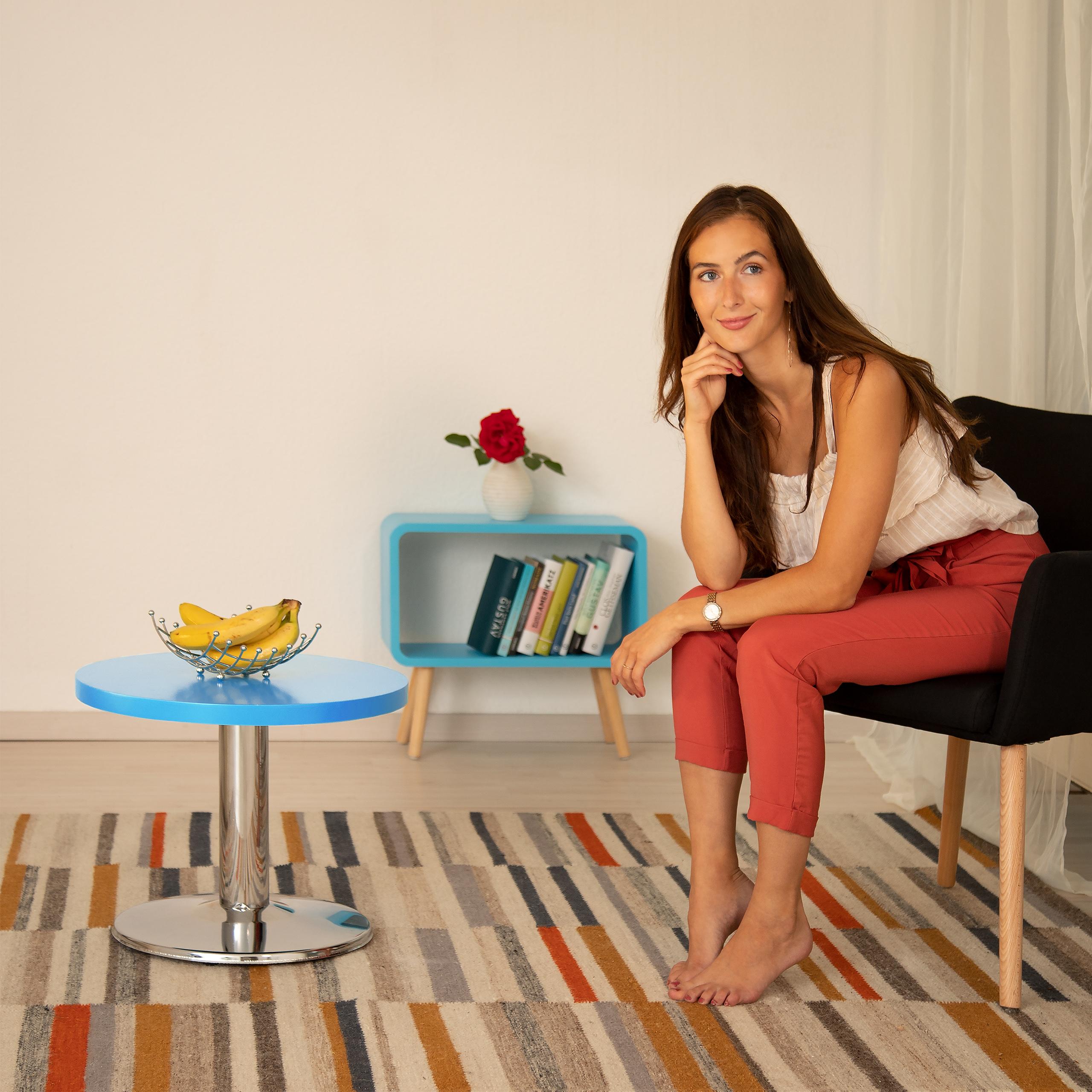 runder beistelltisch kleiner couchtisch farbiger kindertisch mdf und metall ebay. Black Bedroom Furniture Sets. Home Design Ideas