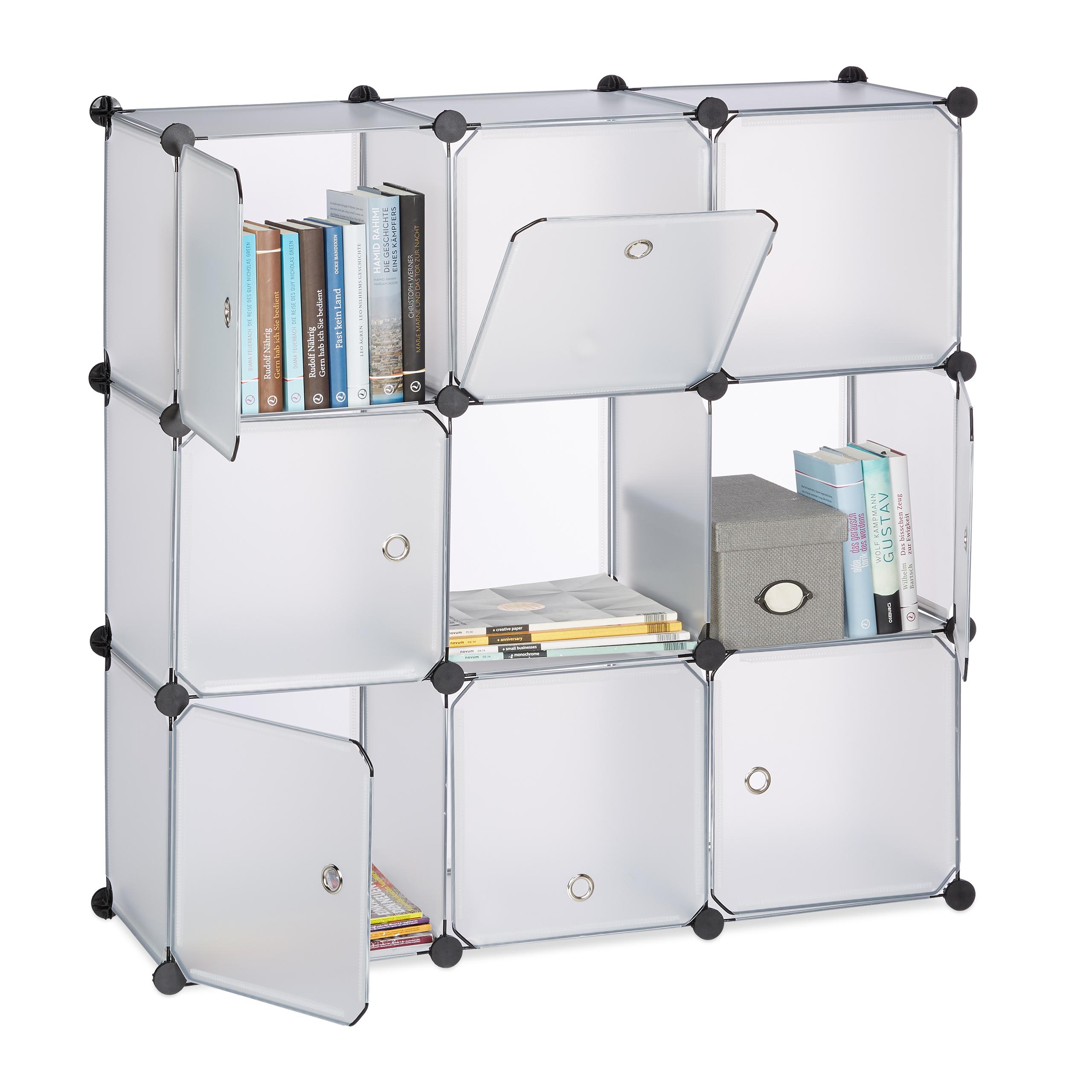 Estanteria-modular-con-puertas-9-compartimentos-Negro-Blanco-o-Transparente