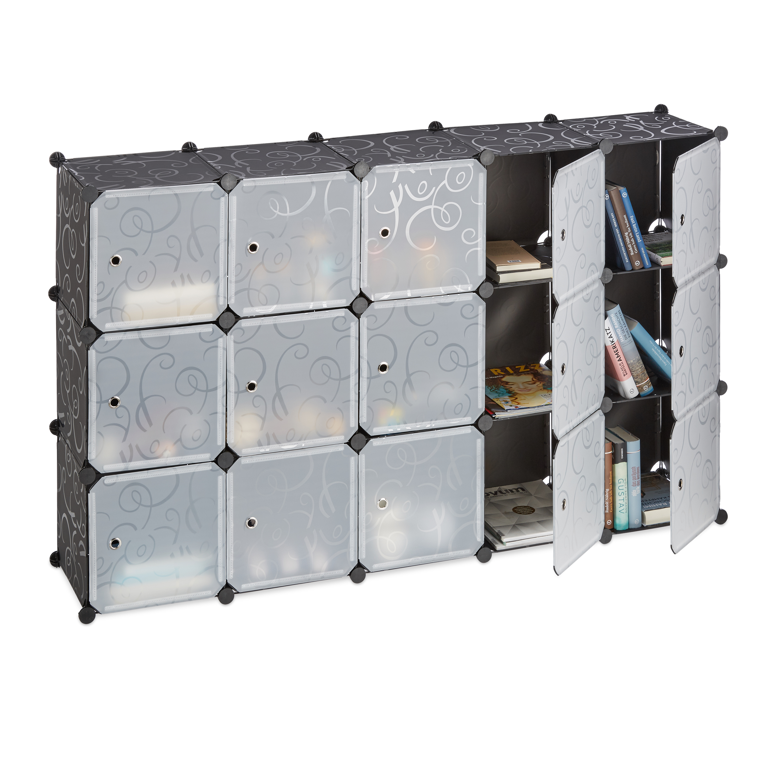Boltless-Plastic-with-16-Compartments-Shelving-System-DIY-with-doors-Plastic-Cabinet thumbnail 4