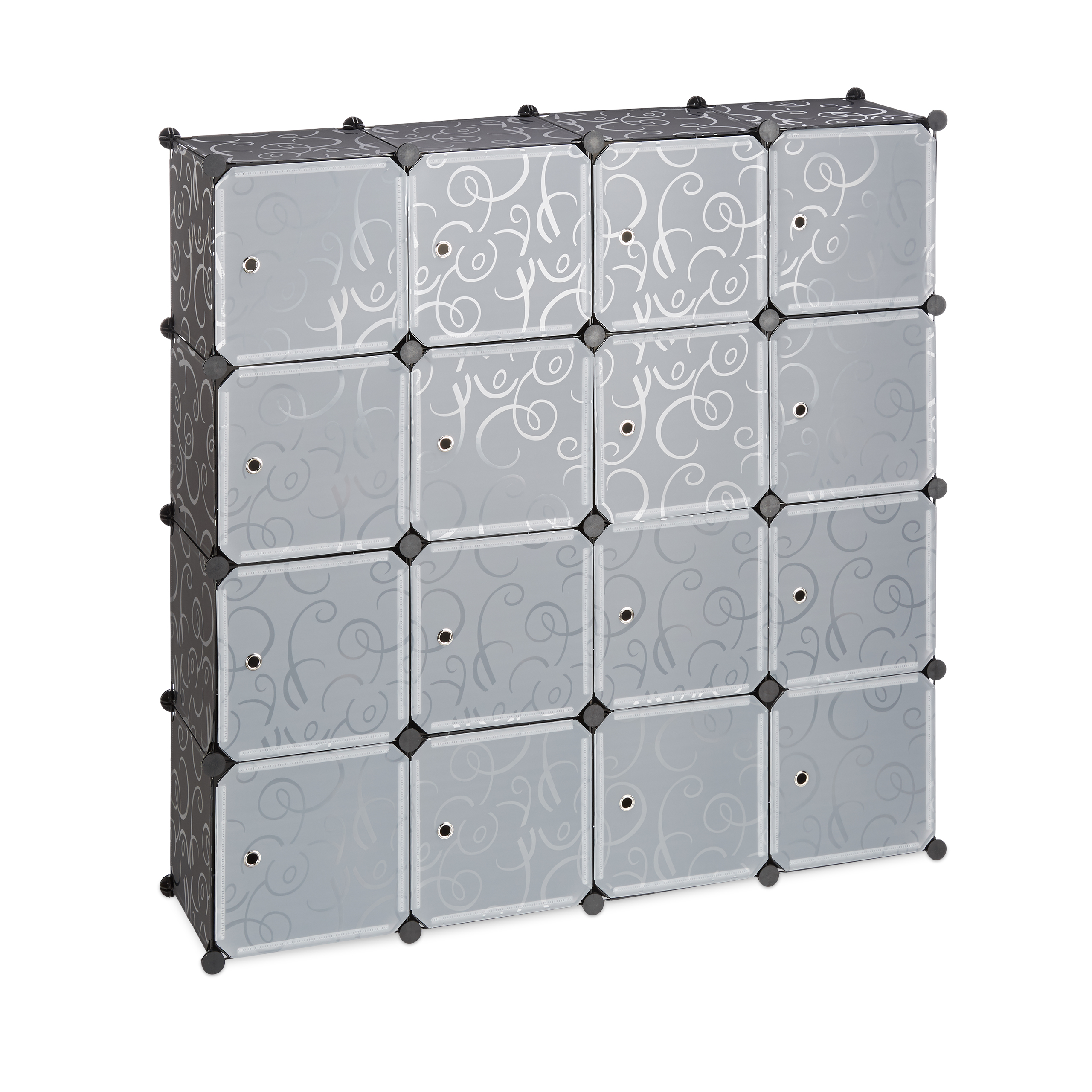 Boltless-Plastic-with-16-Compartments-Shelving-System-DIY-with-doors-Plastic-Cabinet thumbnail 5
