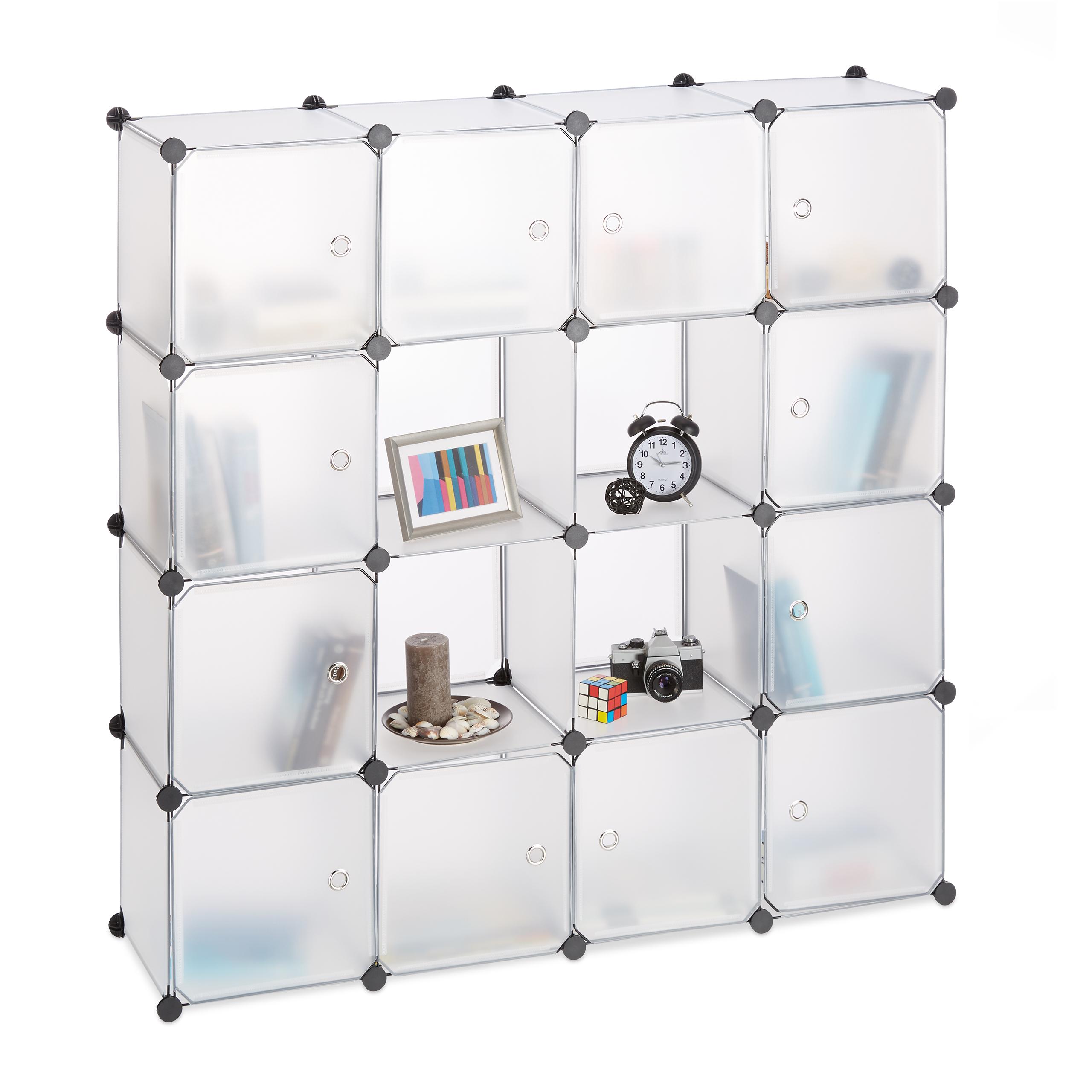 Steckregal-Kunststoff-mit-16-Faechern-Regalsystem-DIY-mit-Tueren-Plastikschrank