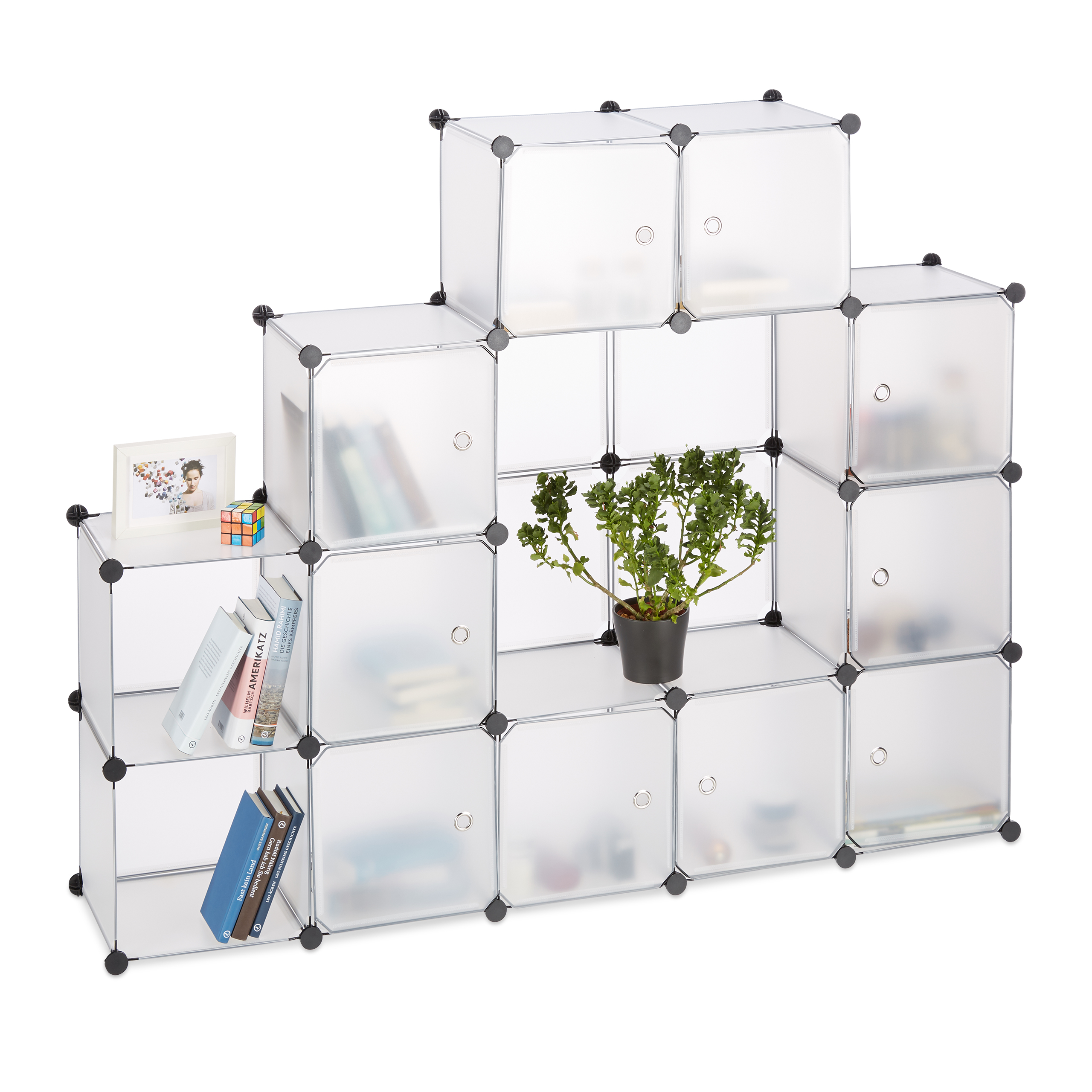 Boltless-Plastic-with-16-Compartments-Shelving-System-DIY-with-doors-Plastic-Cabinet thumbnail 10