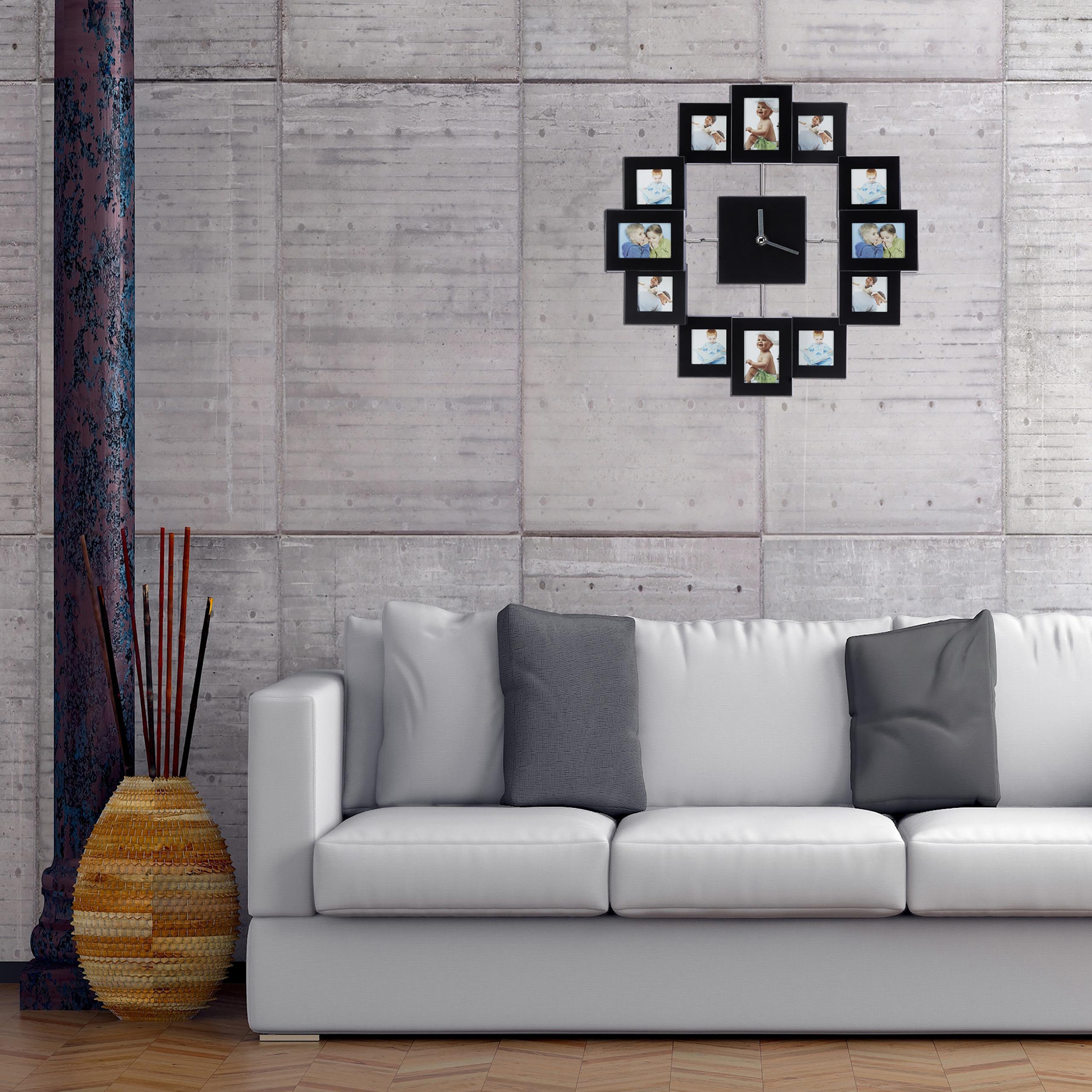 wanduhr mit bilderrahmen bilderuhr 12 fotos zum selbstgestalten fotouhr ebay. Black Bedroom Furniture Sets. Home Design Ideas