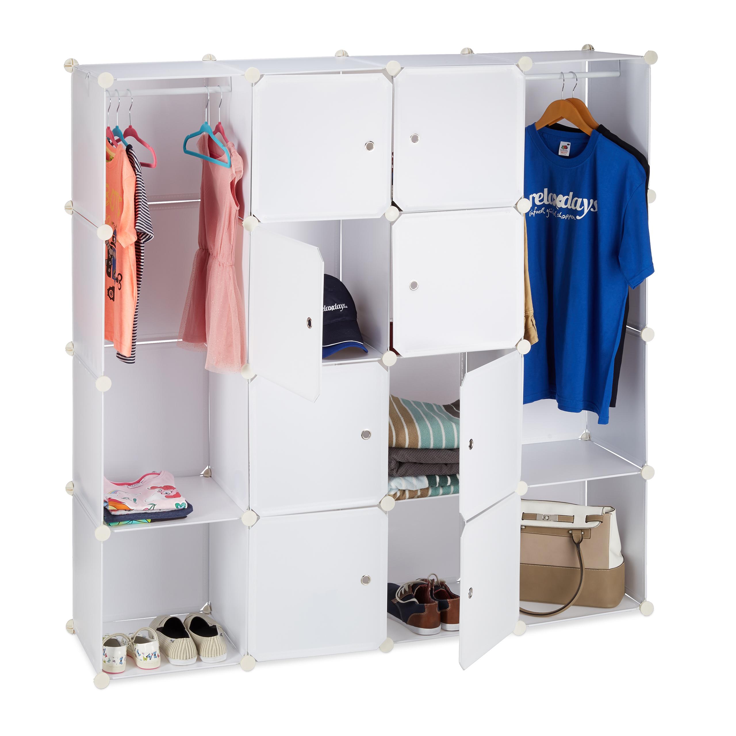 Kleiderschrank-Stecksystem-12-Faecher-Kunststoff-Garderobenschrank-Schuhschrank