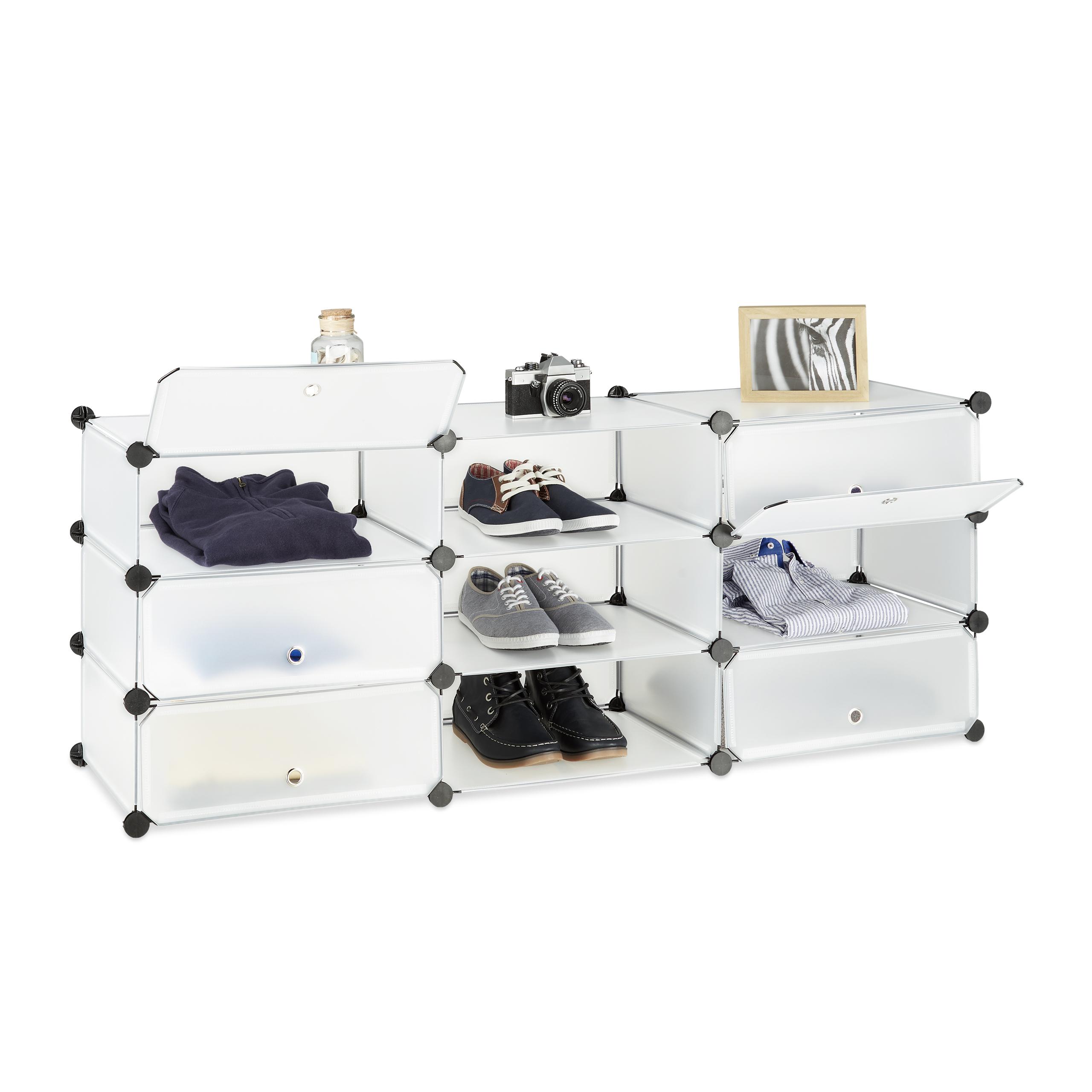 Schuhschrank 10 Fächer Schuhregal groß Regalsystem mit Türen