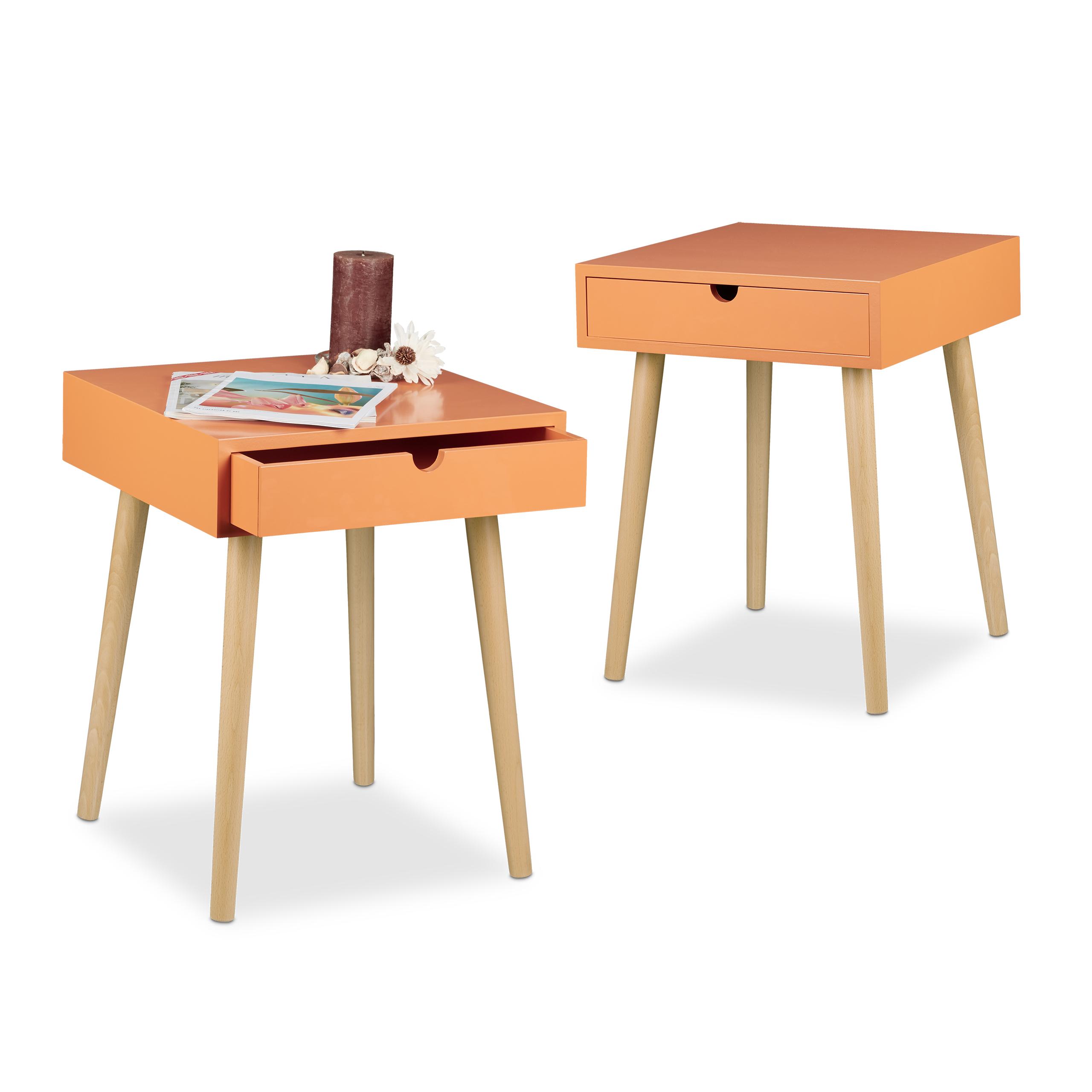 Dettagli su Set 2 comodini con cassetto per camera da letto, 40x40, legno  laccato, arancione