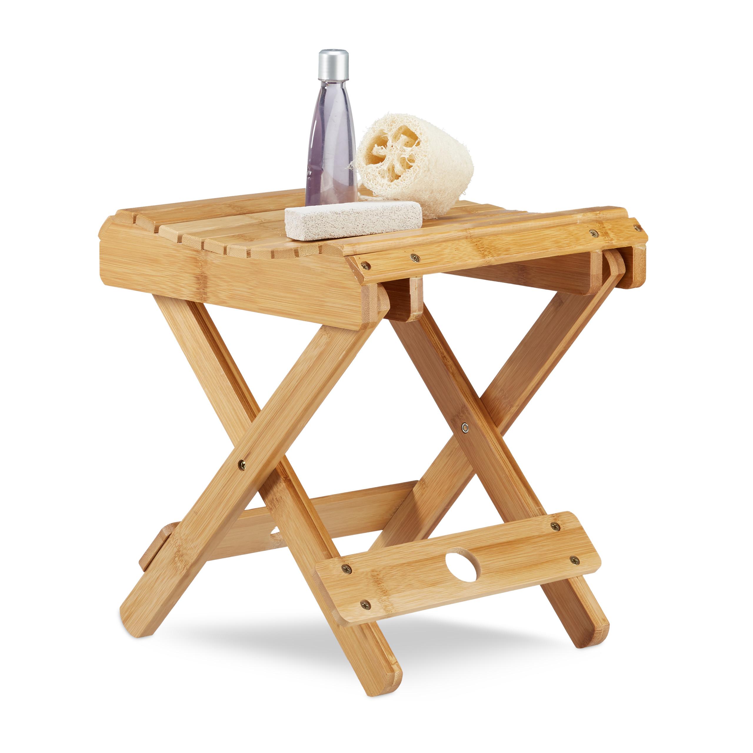 tabouret pliant bambou repose pied salle de bain petite sellette d co nature ebay. Black Bedroom Furniture Sets. Home Design Ideas