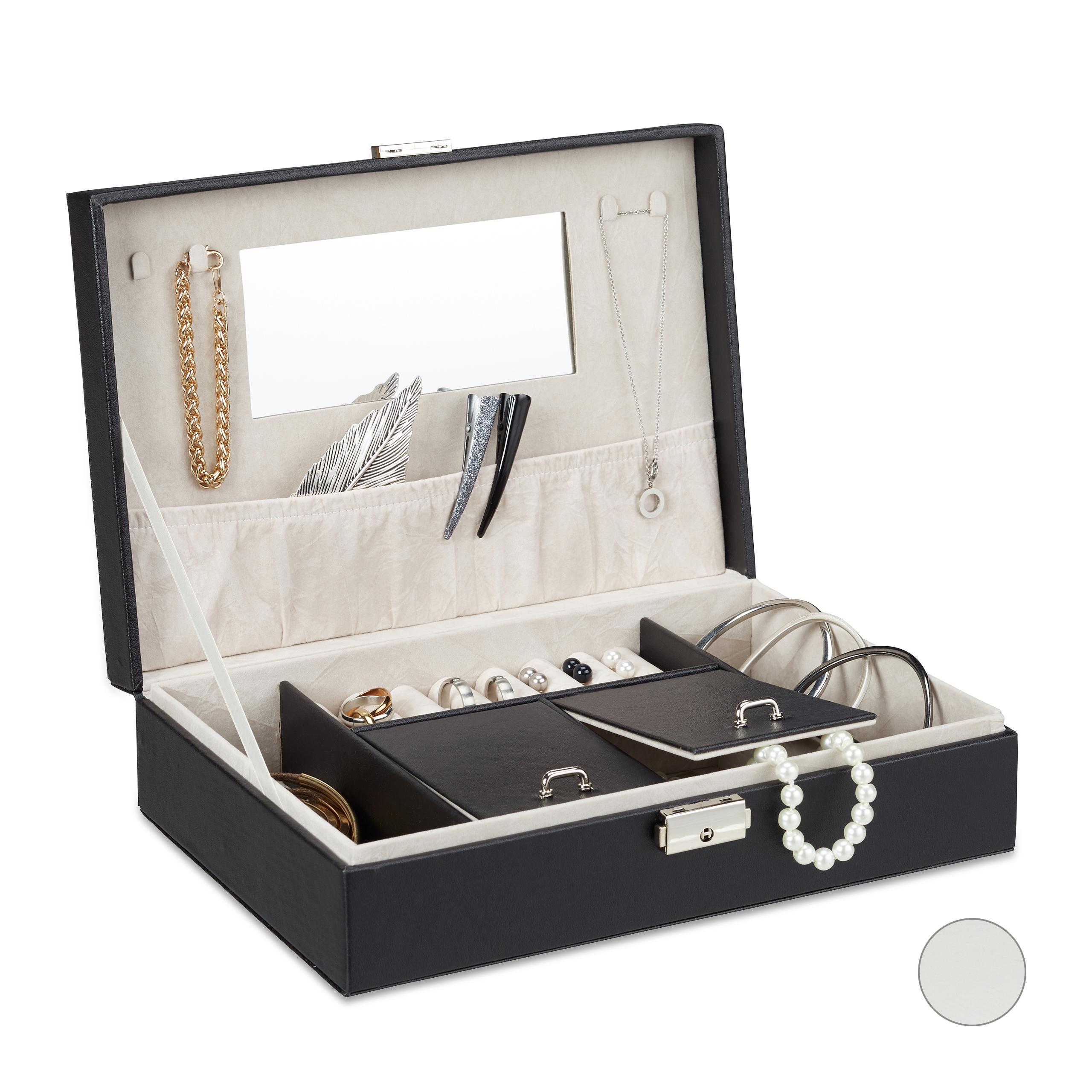 schmuckkasten kunstleder schmuckkiste schmuckaufbewahrung spiegel verschlie bar ebay. Black Bedroom Furniture Sets. Home Design Ideas