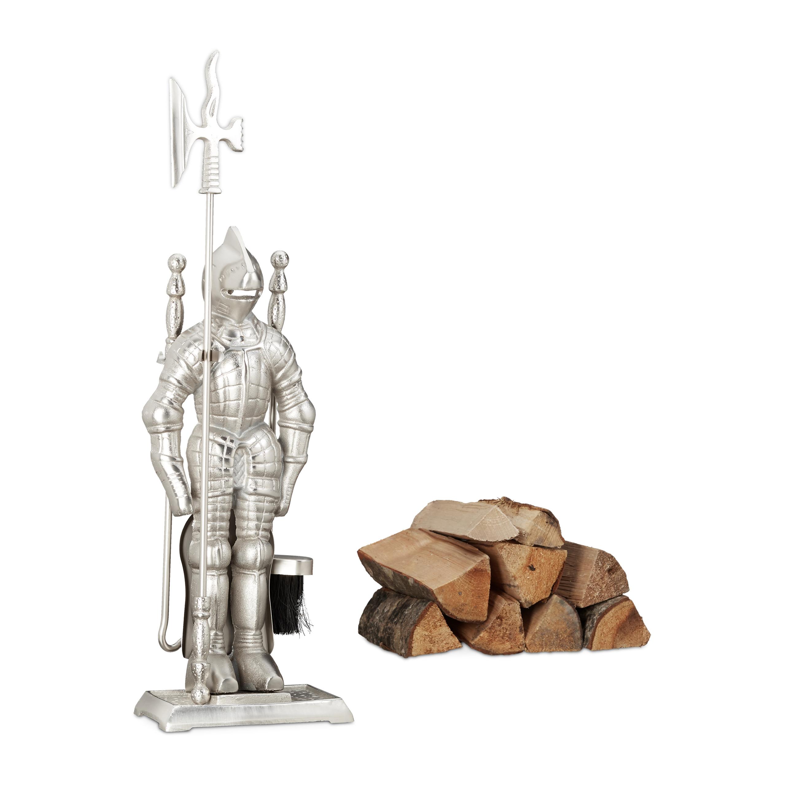 Détails sur Ensemble serviteur de cheminée 4 pièces accessoire chevalier  fonte moderne