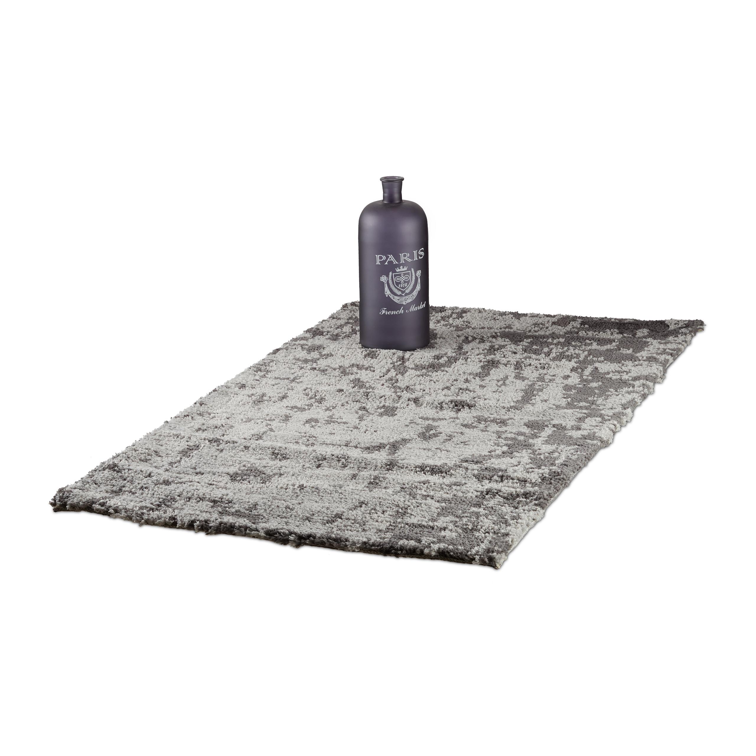 Hochflor Teppich Shaggy Grau Flurlaufer Mit Muster Wohnzimmerteppich
