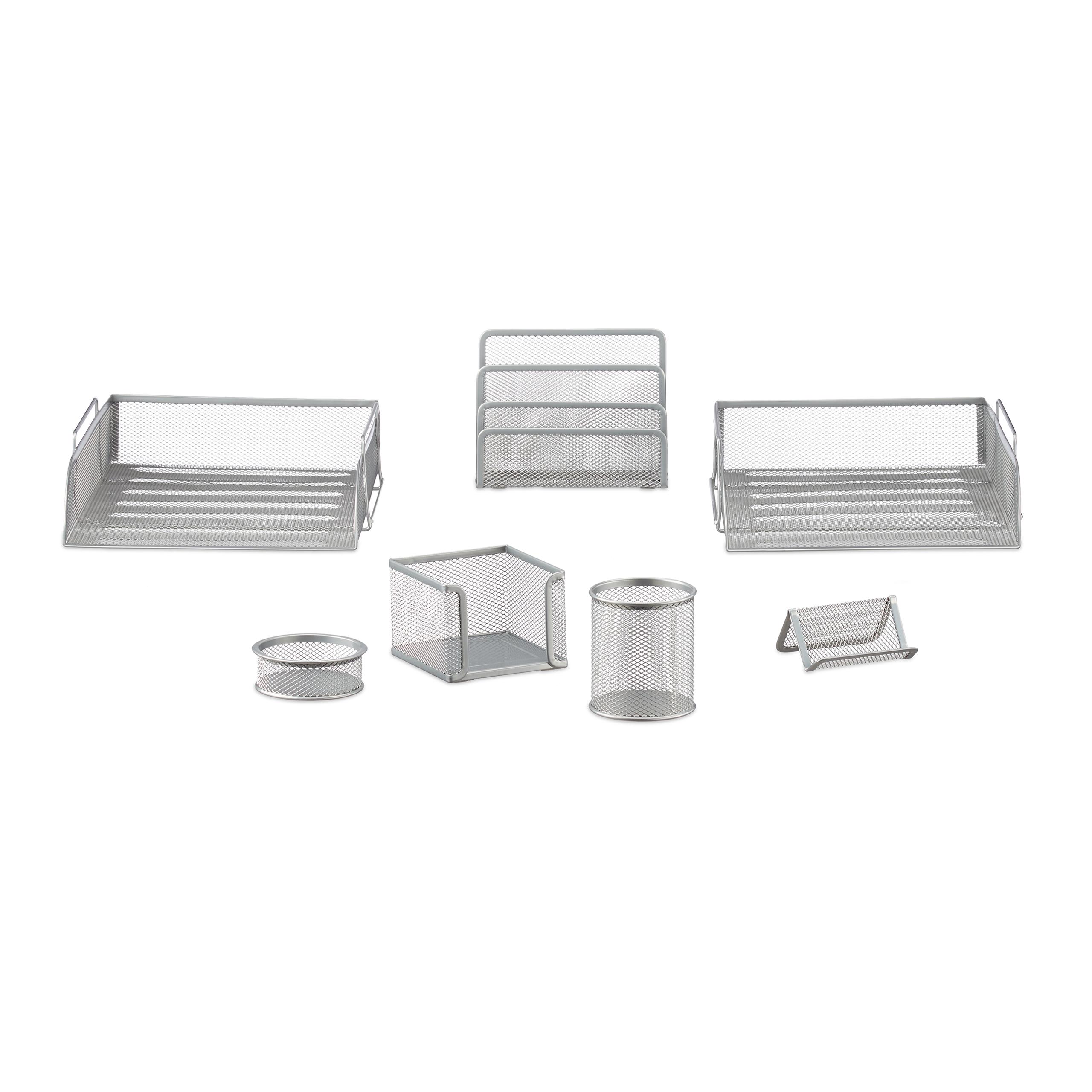 7-teilig Büroset Stifteköcher Zettelbox Briefablagen Schreibtisch Organizer Set
