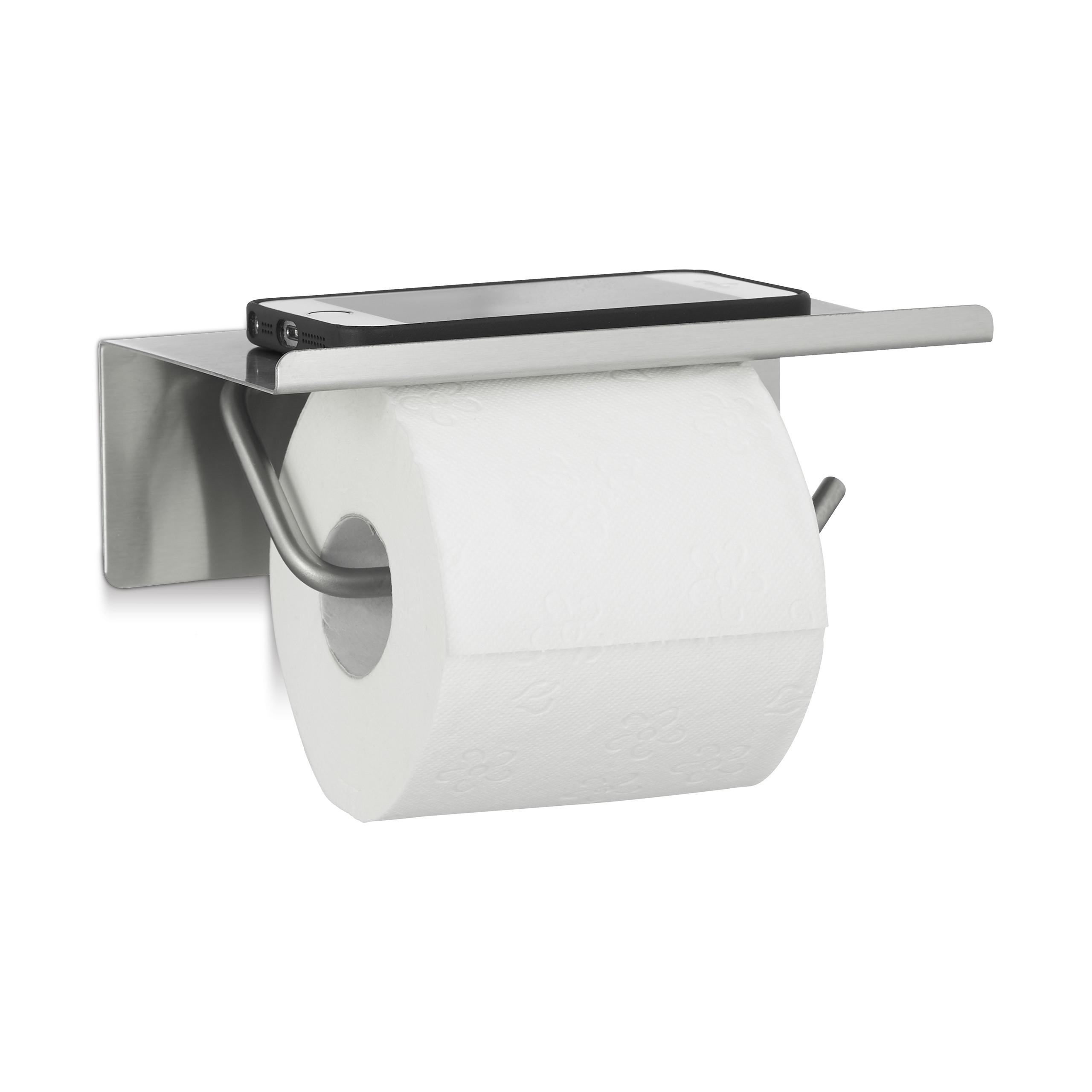 toilettenpapierhalter edelstahl klopapierhalter wand klorollenhalter mit ablage ebay. Black Bedroom Furniture Sets. Home Design Ideas
