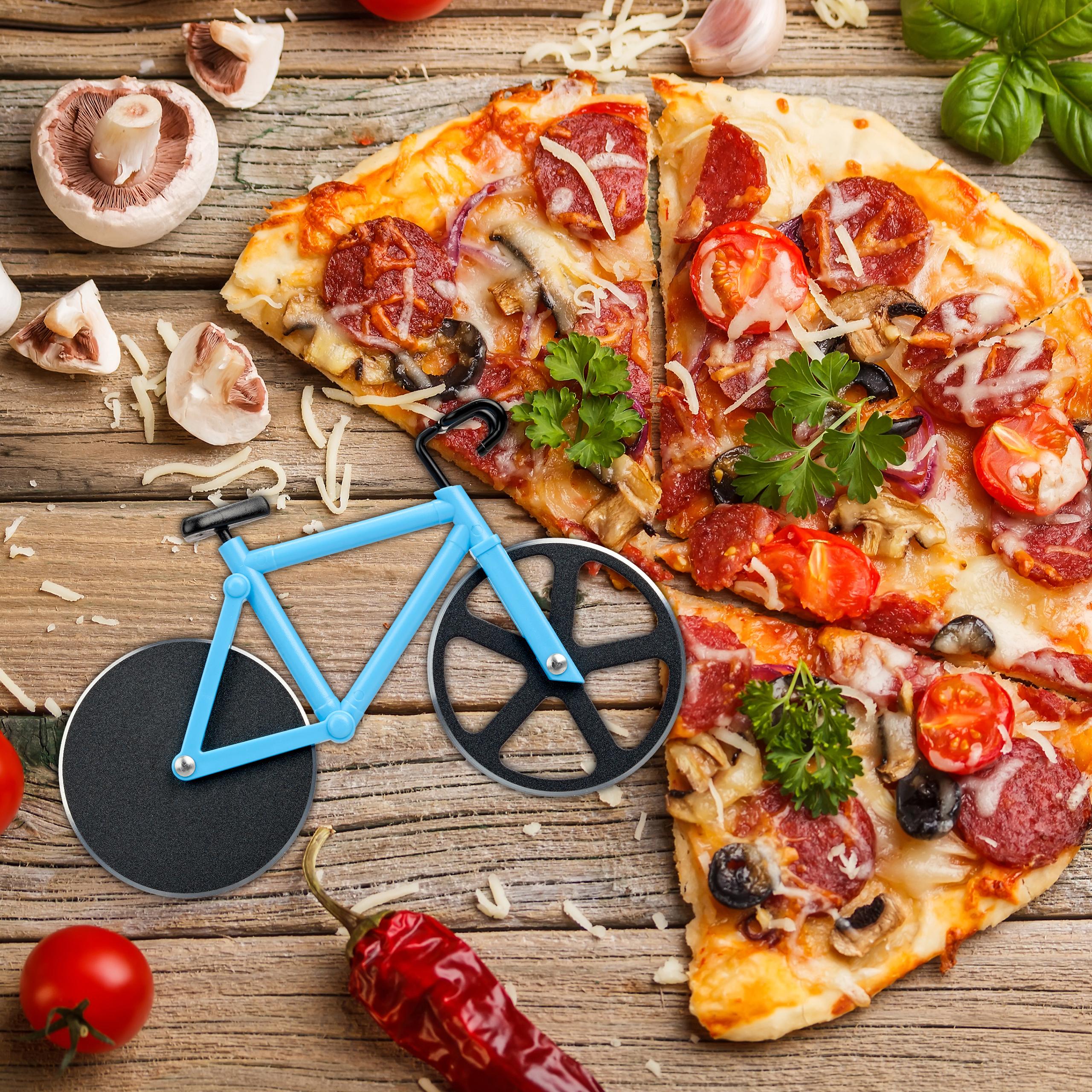 Fahrrad-Pizzaschneider-Teigschneider-Pizzamesser-Pizzaroller-Bunt-Schneiderad thumbnail 4