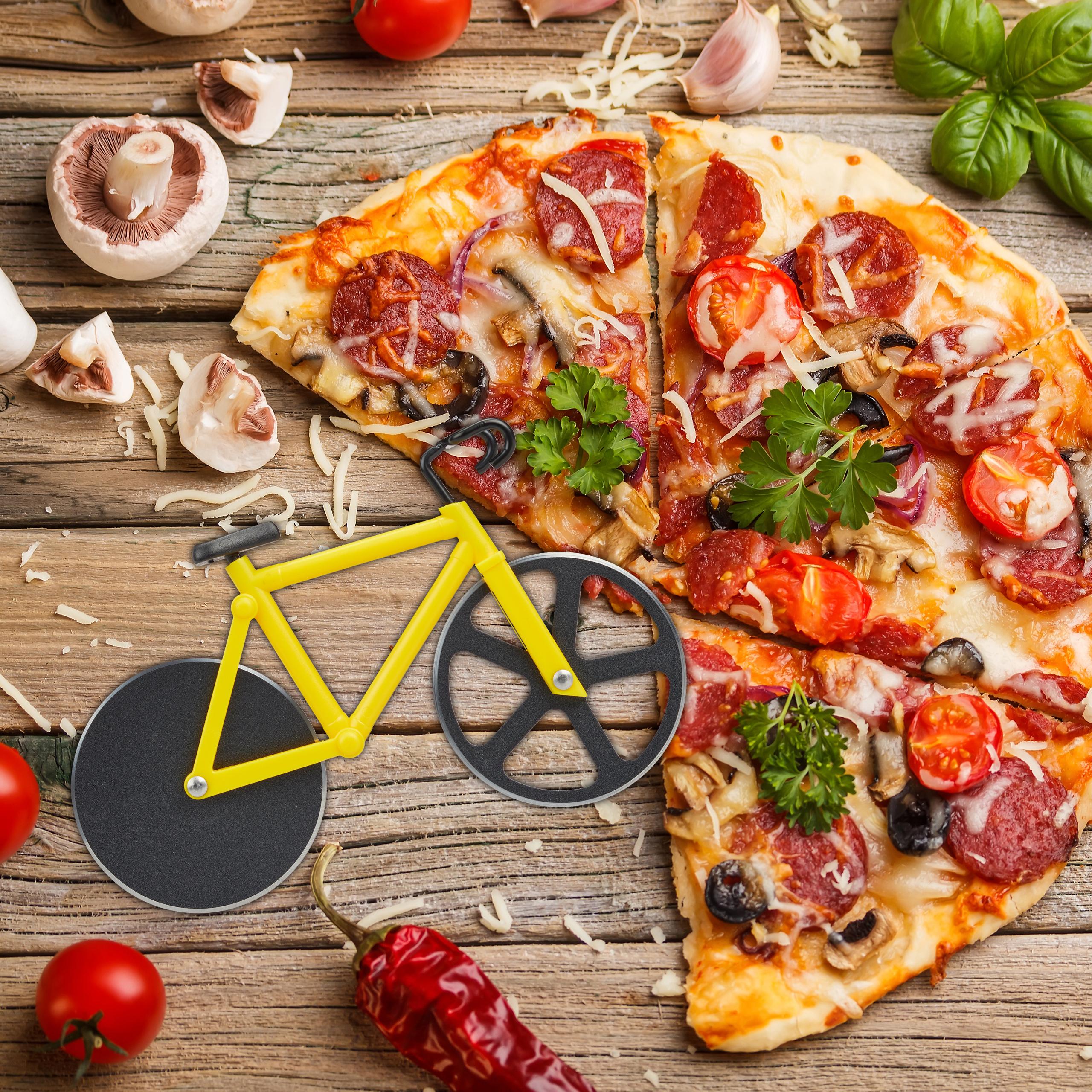 Fahrrad-Pizzaschneider-Teigschneider-Pizzamesser-Pizzaroller-Bunt-Schneiderad thumbnail 7