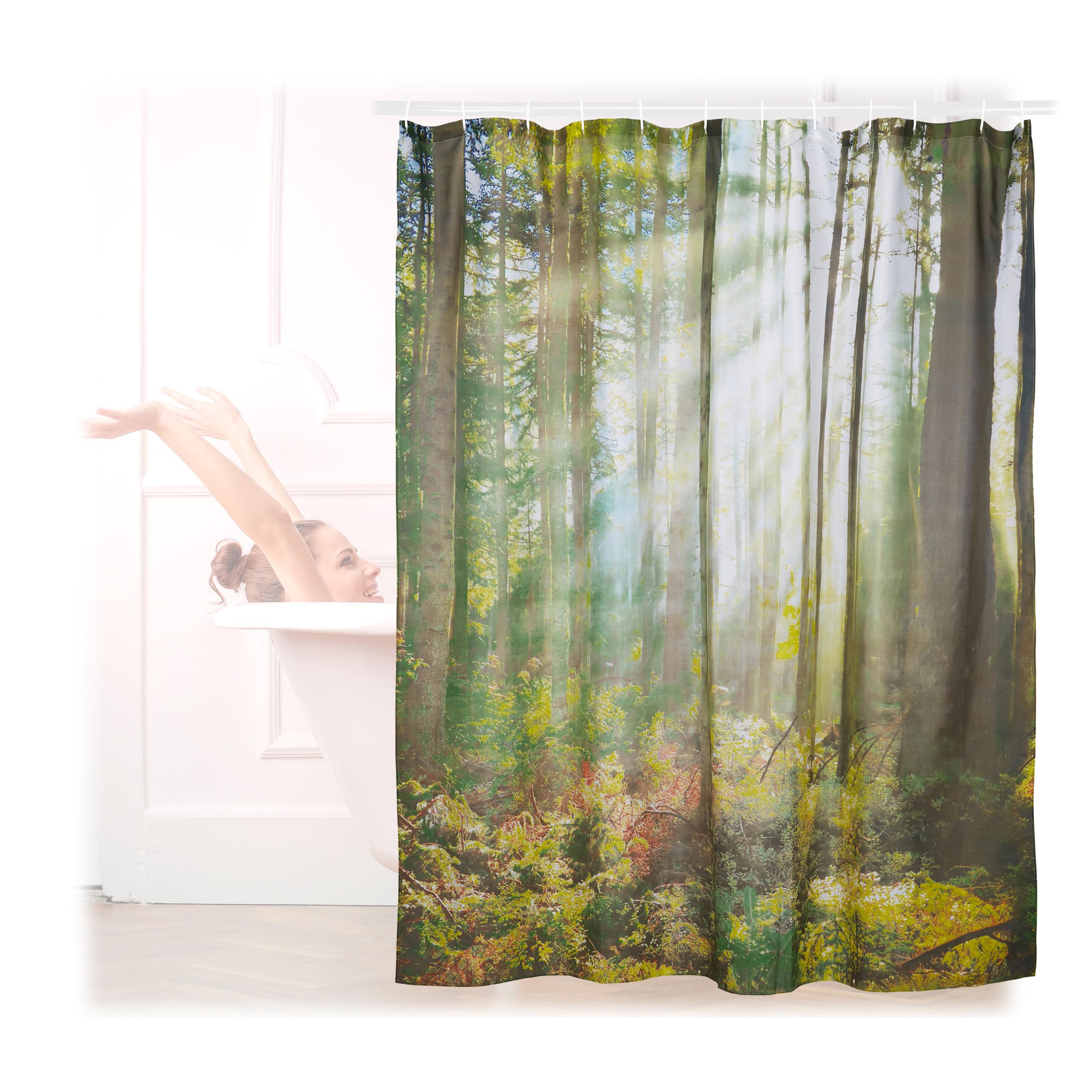 Détails sur Rideau de douche 180 x 180 cm salle de bain motifs nature bois  anti-moisissures