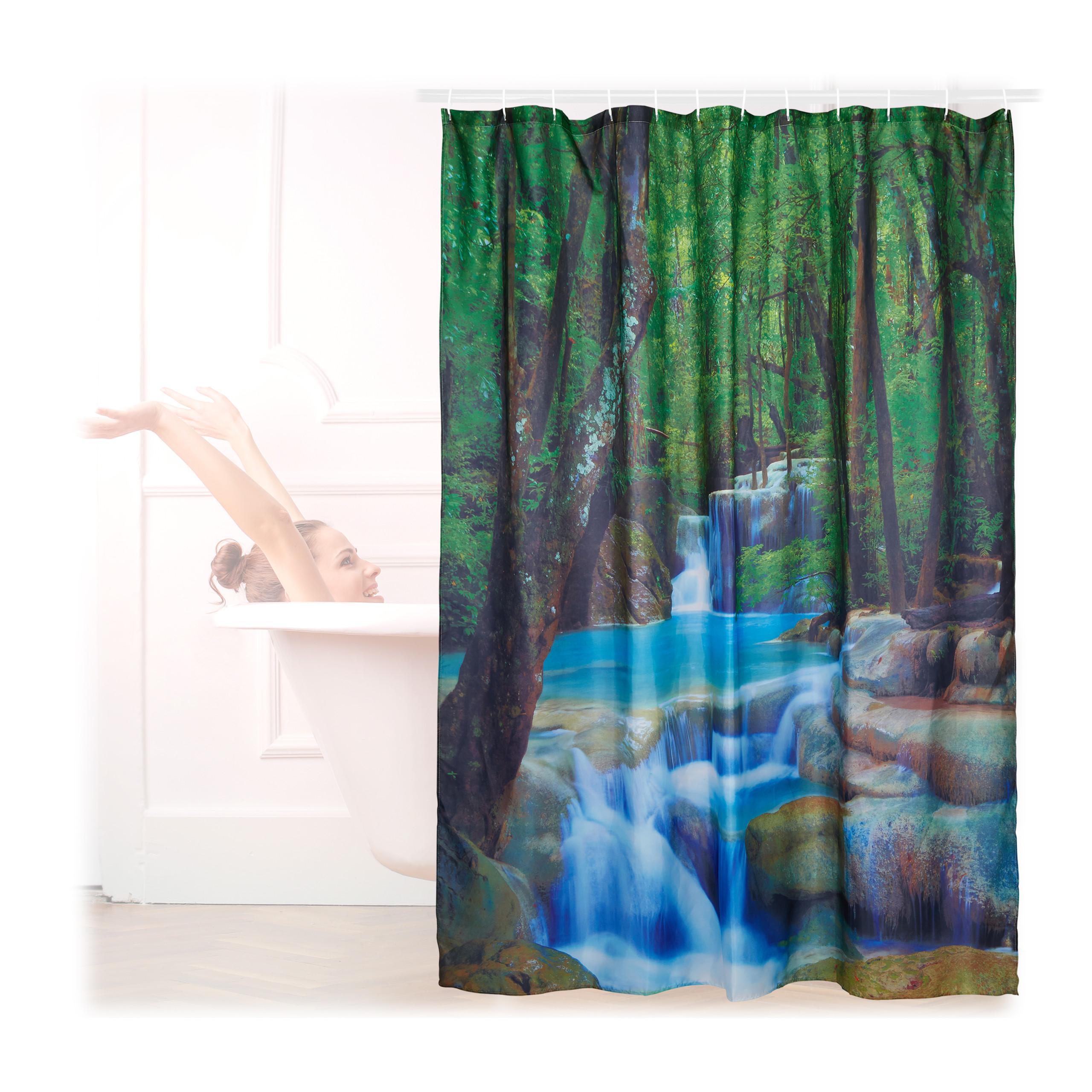 Rideau de douche 200 x 180 cm salle de bain cascade - Anti moisissure salle de bain ...