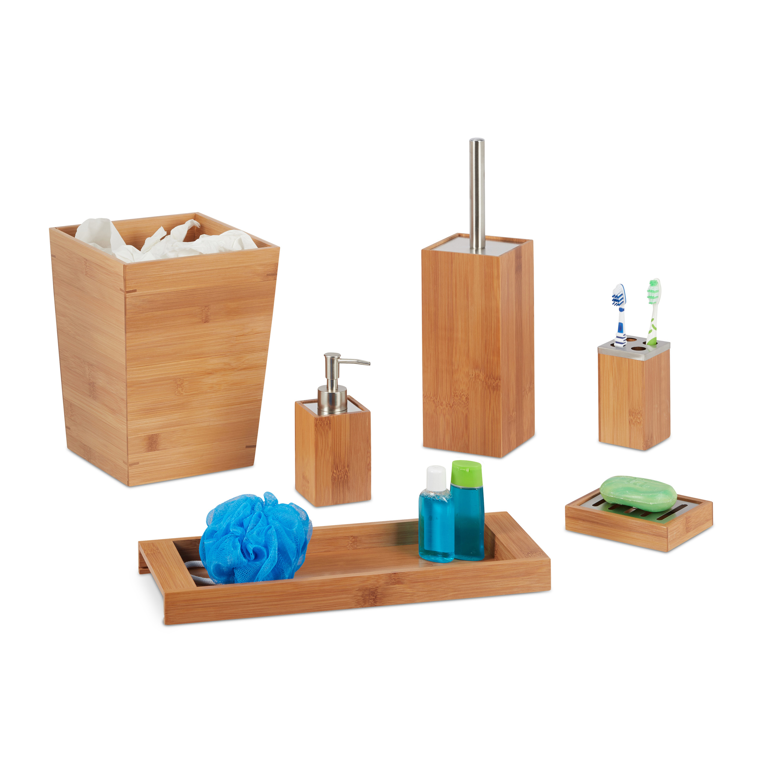 marvellous bamboo bathroom accessories | 6-Piece Bamboo Bathroom Accessory Set with Toilet Brush ...