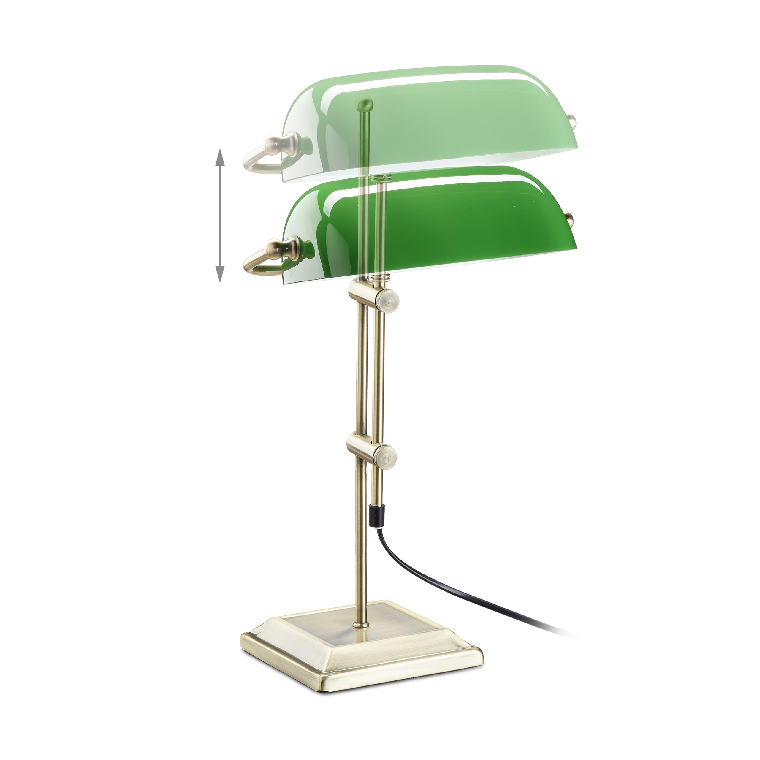 Bankerlampe gr n arbeitsleuchte retrolampe leselampe glas for Leselampe designklassiker