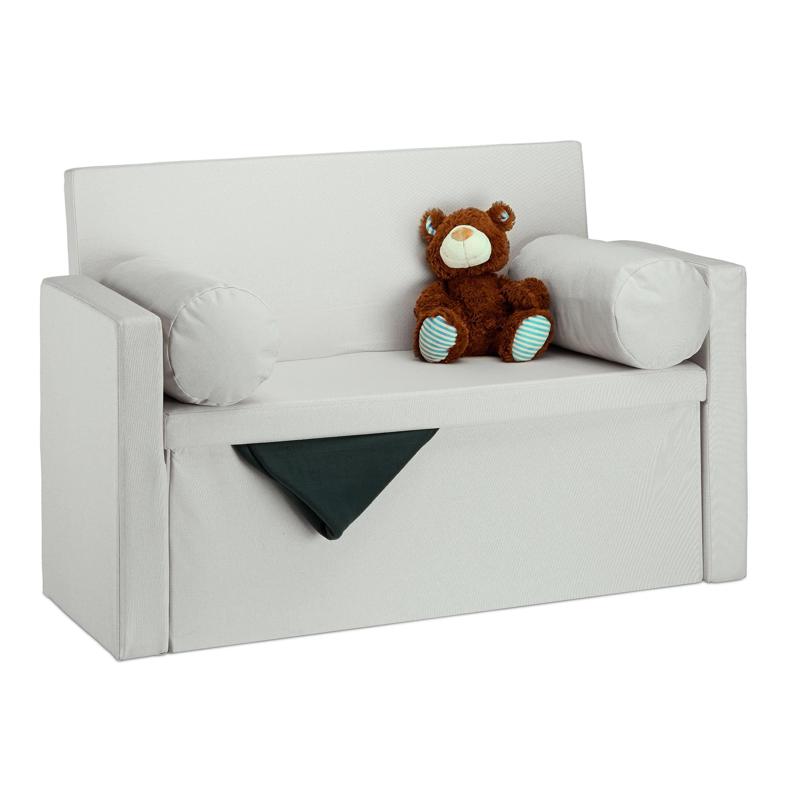 Panca con schienale reclinabile, 2 cuscini, pouf contenitore, divano ...