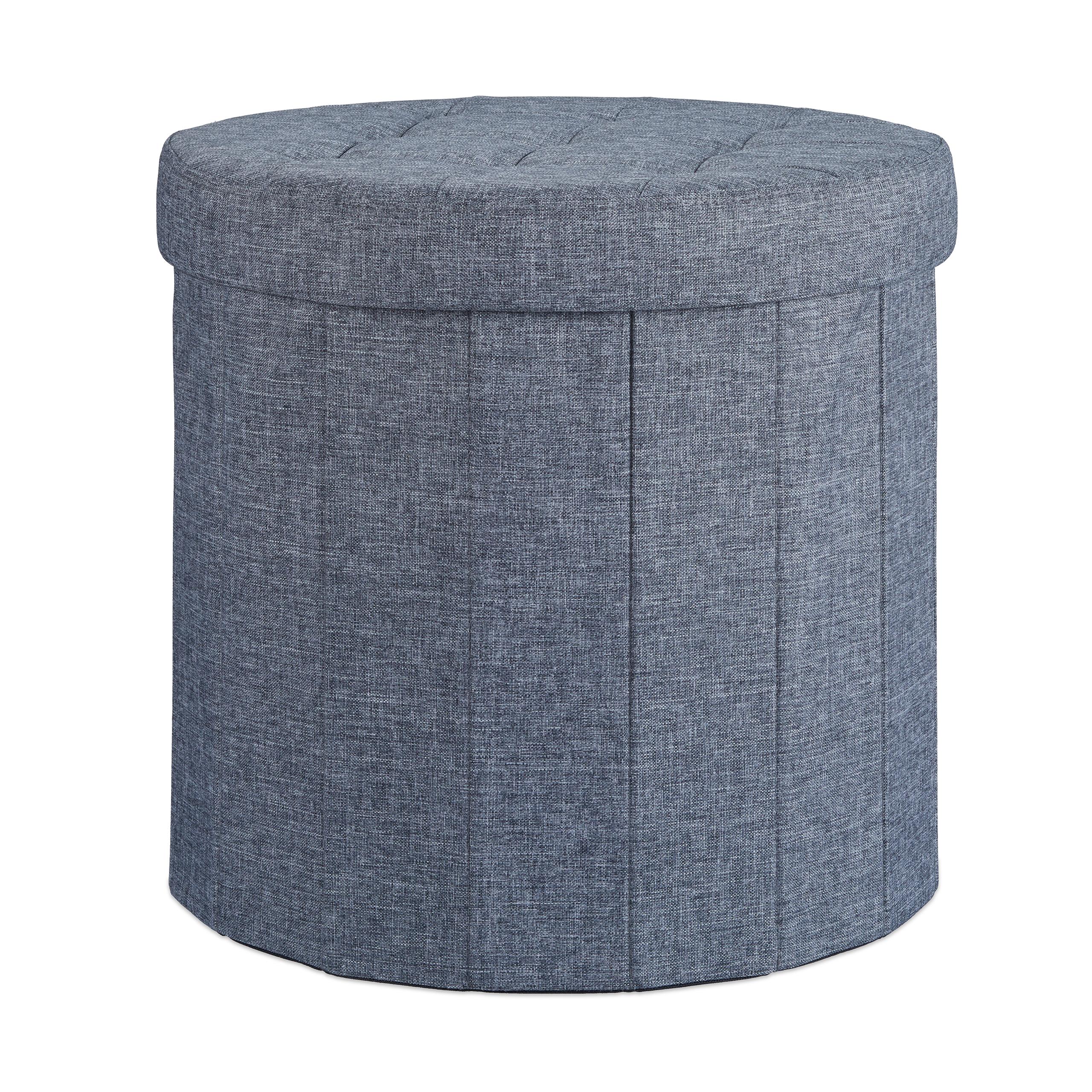 sitzhocker mit stauraum gr e l rund fu hocker fu ablage polsterhocker hocker ebay. Black Bedroom Furniture Sets. Home Design Ideas
