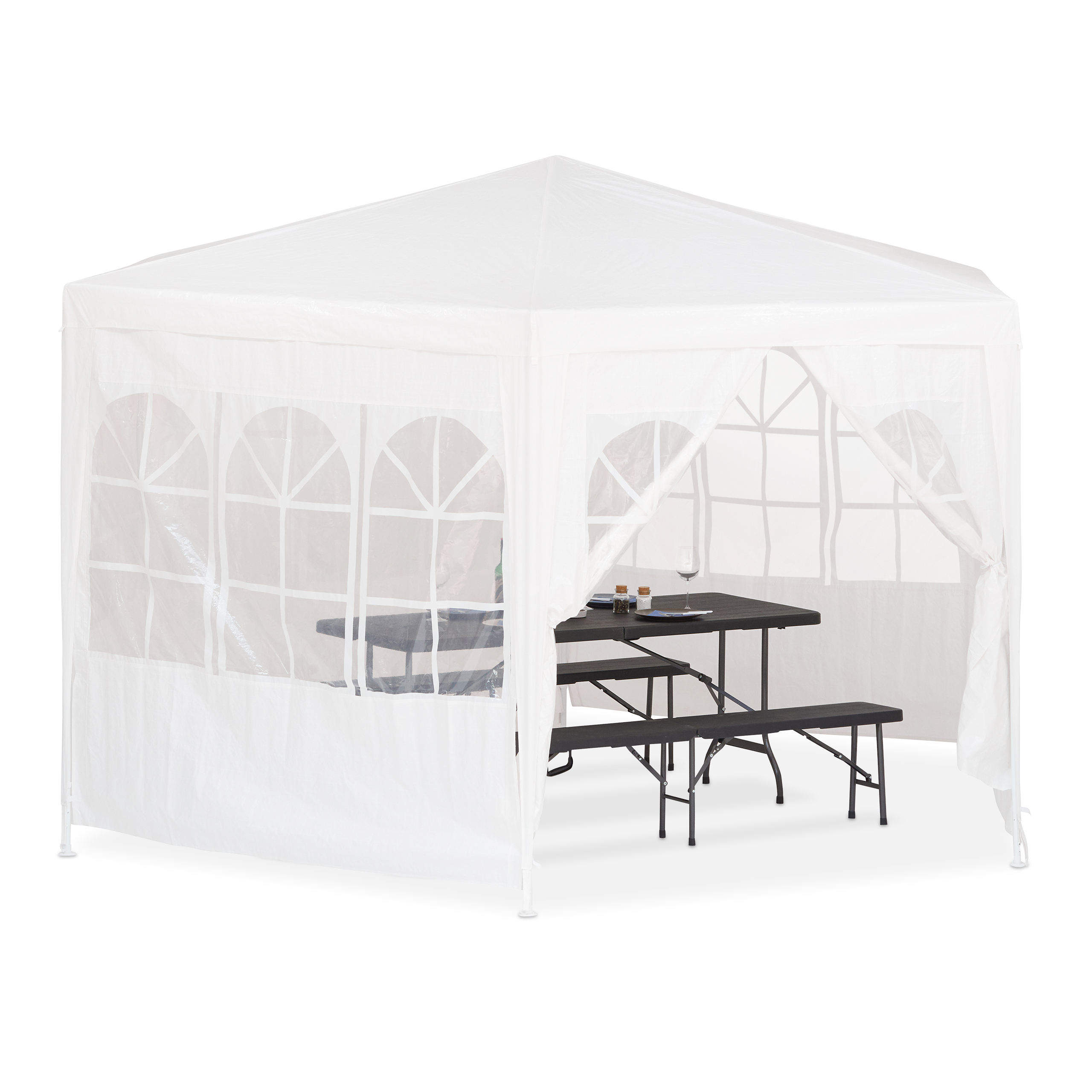 pavillon 6 eckig mit seitenw nden bierzelt partyzelt 2x2x2x2 5m wei ebay. Black Bedroom Furniture Sets. Home Design Ideas