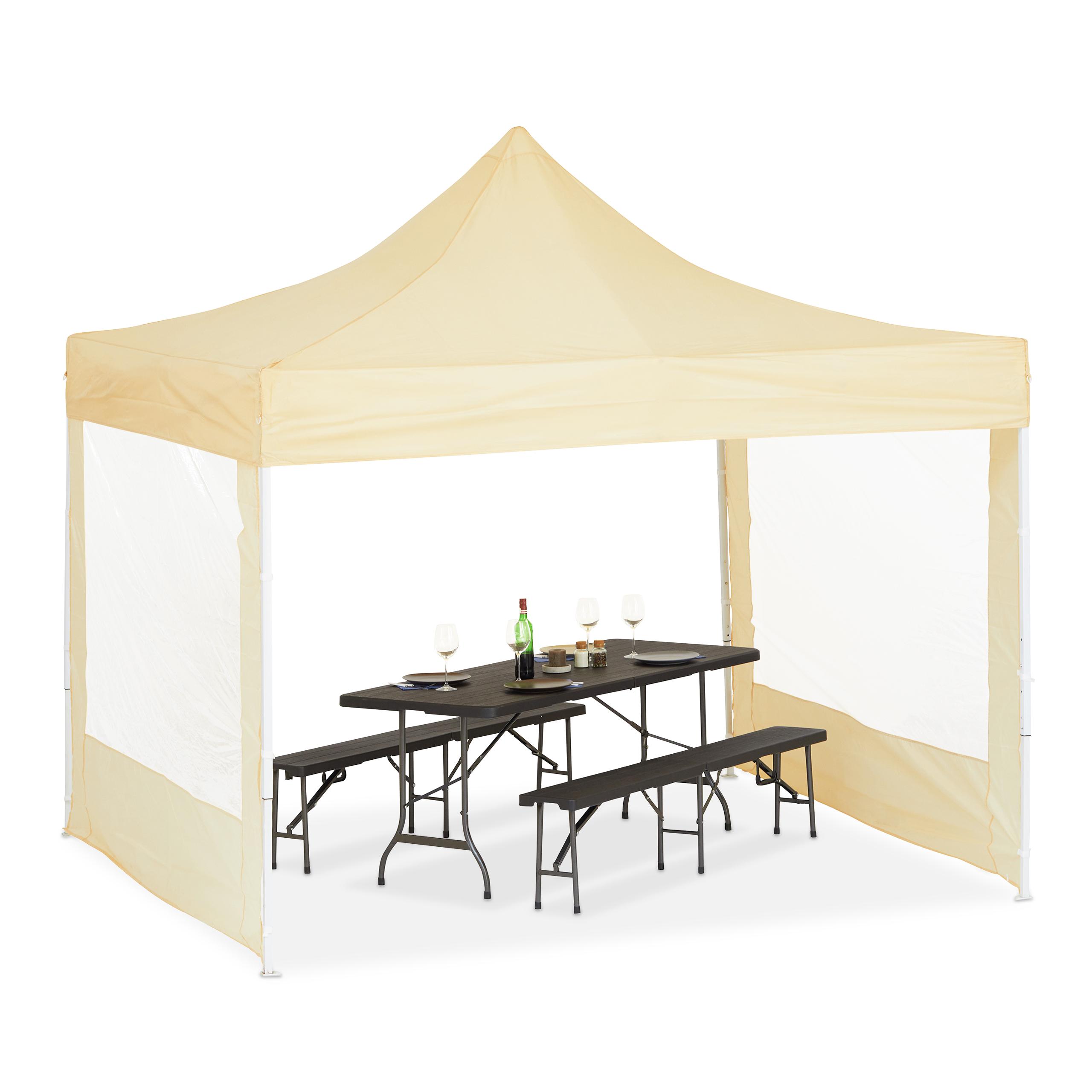 faltpavillon 3x3 m 2 seitenteile festzelt partyzelt pvc champagnerfarben metall ebay. Black Bedroom Furniture Sets. Home Design Ideas