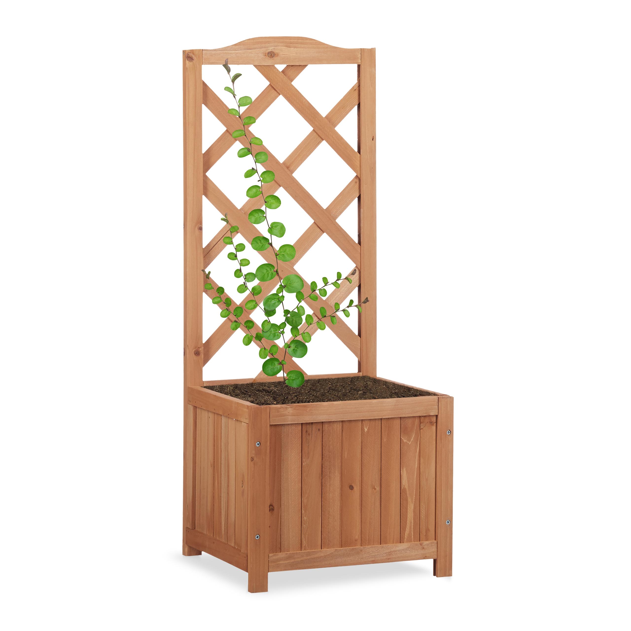 relaxdays jardinière avec treillis bac À fleurs treillage bois