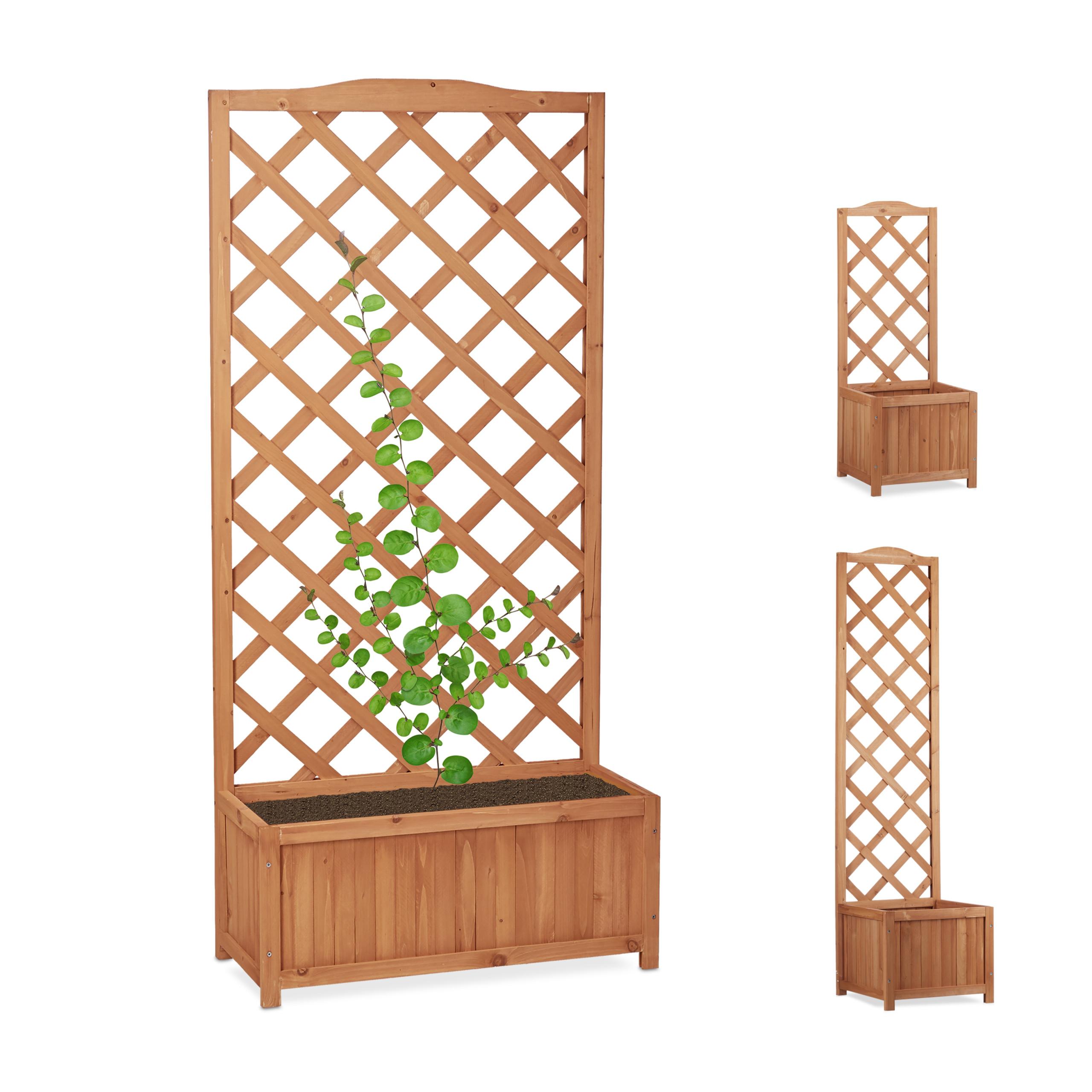 Outdoor Planter Box With Trellis Weatherproof Lattice Flower Pot