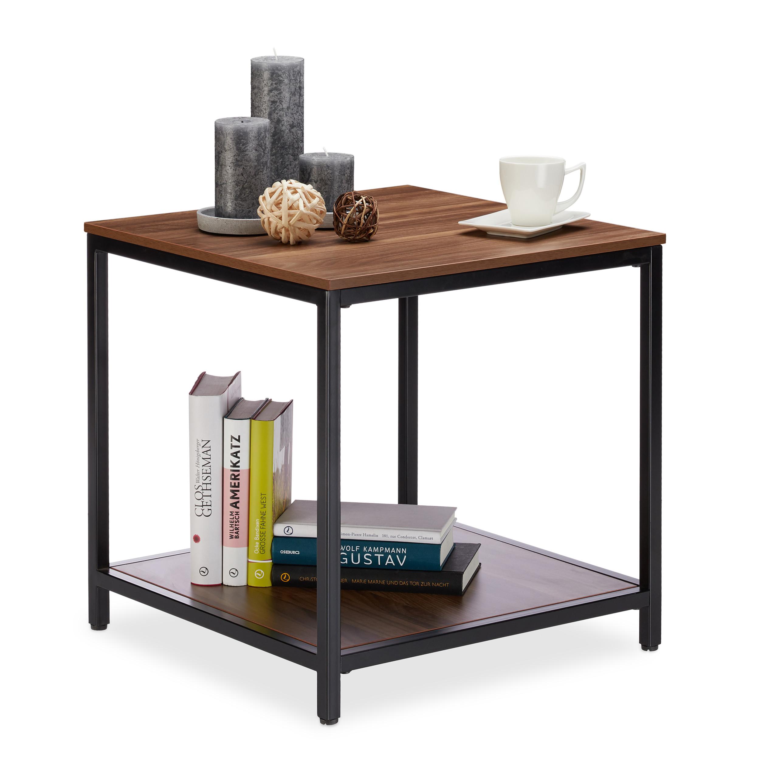 Tavolino da salotto in legno e metallo, 2 ripiani, tavolo basso per ...