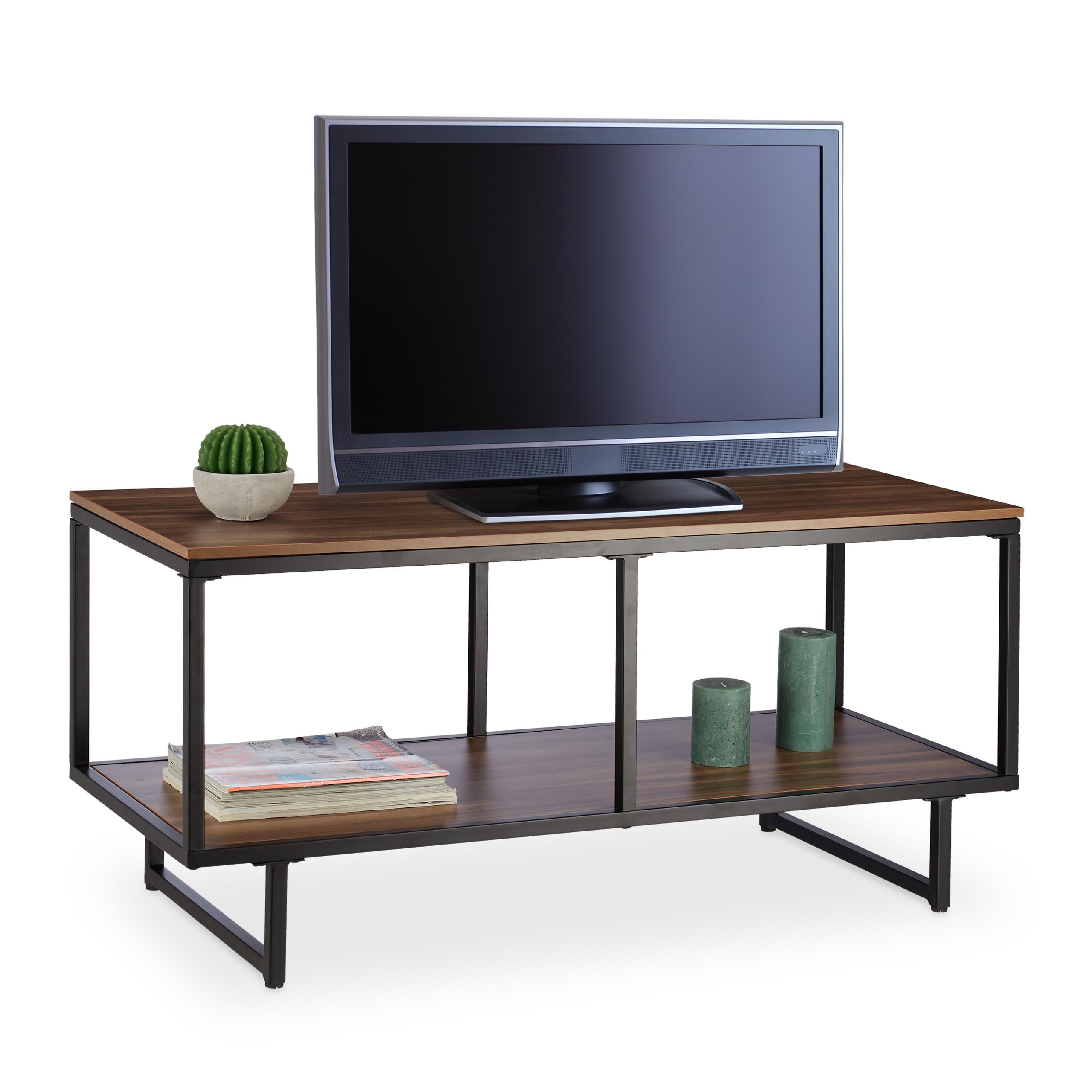 Dettagli su Mobiletto porta tv con ripiano per hi-fi, mobile porta  televisore effetto legno