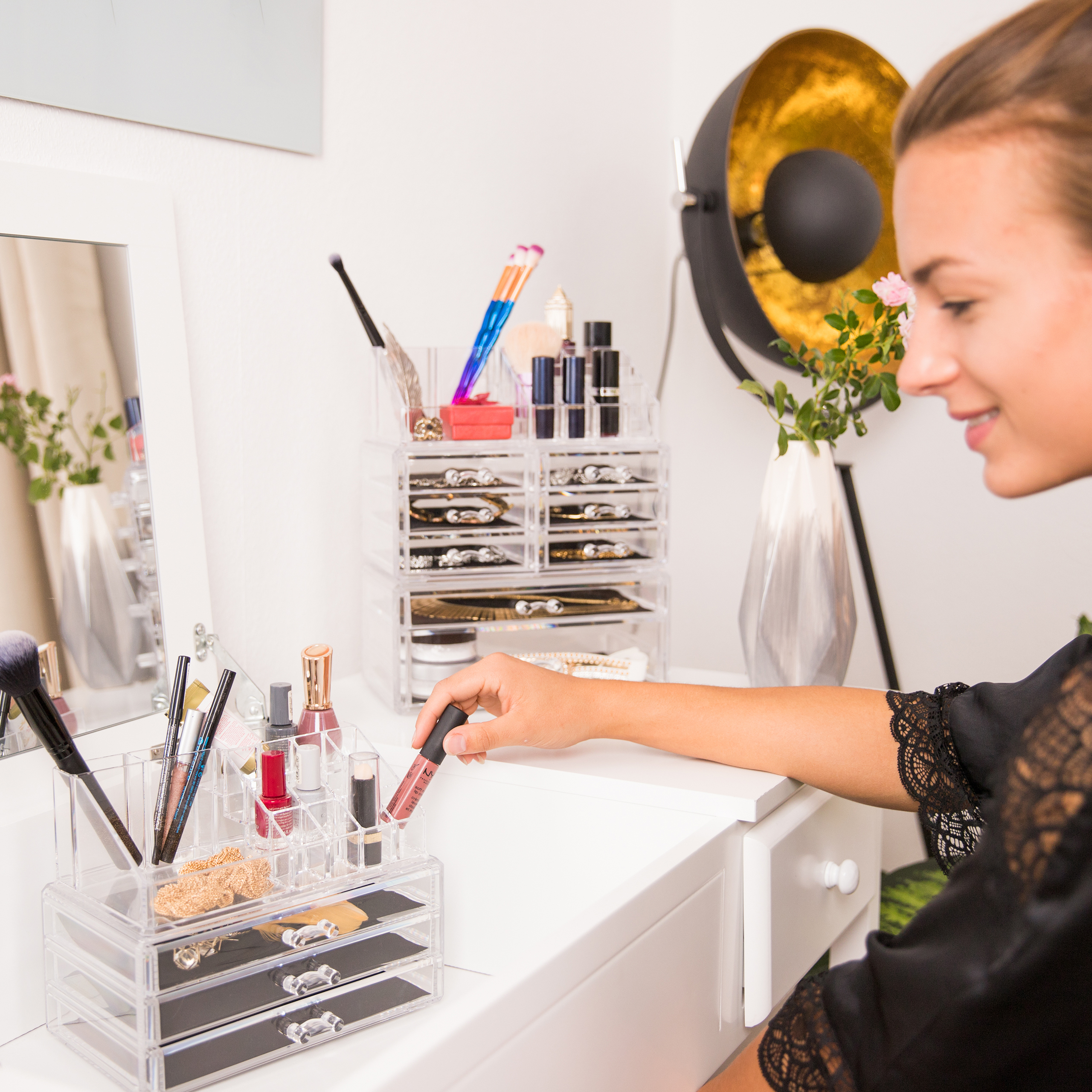 Make-Up-Organizer-Kosmetikregal-Schminkaufbewahrung-Make-Up-Staender-Tower
