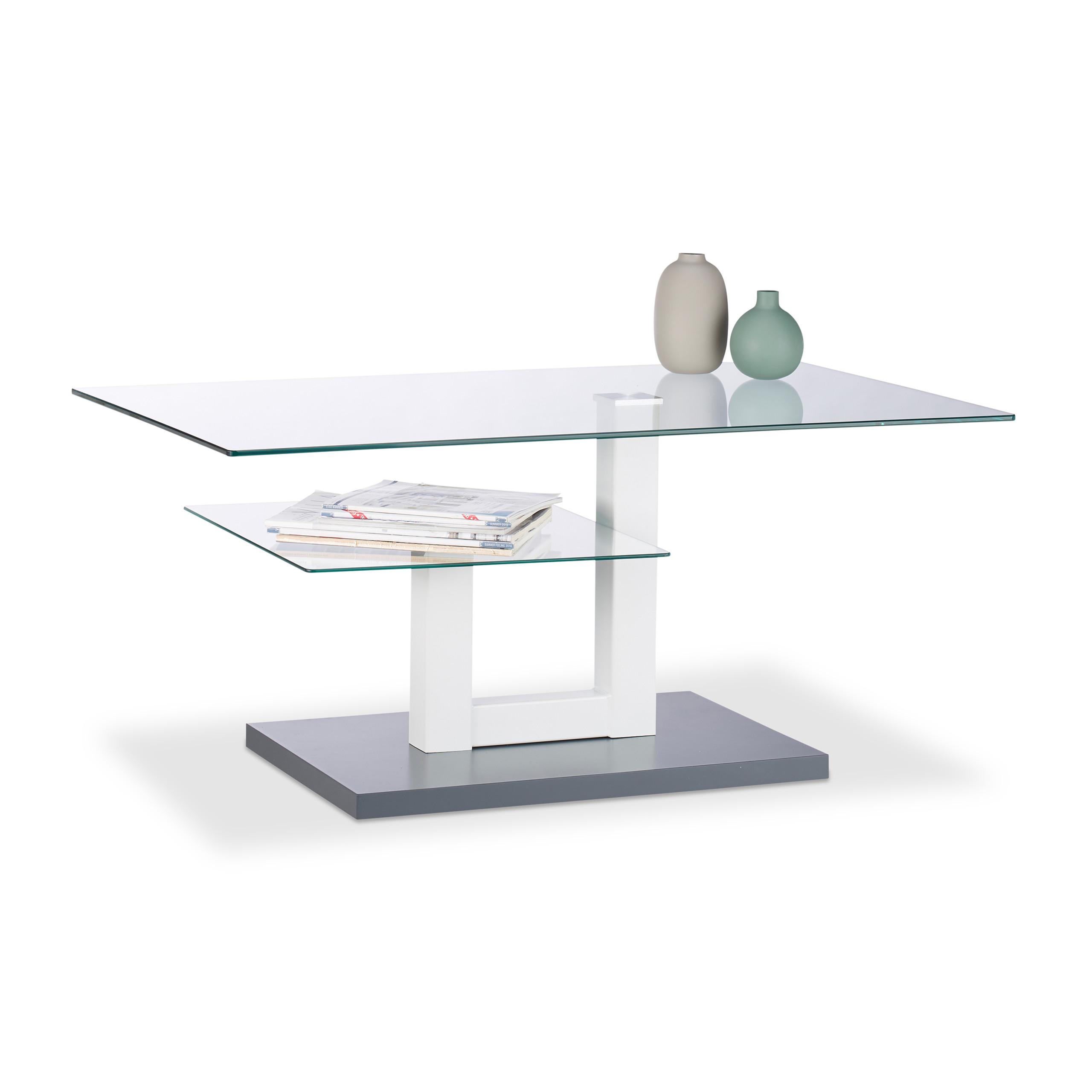 Détails sur Table Basse Verre Support Supplémentaire Table de Salon Table  d'appoint Vitrée