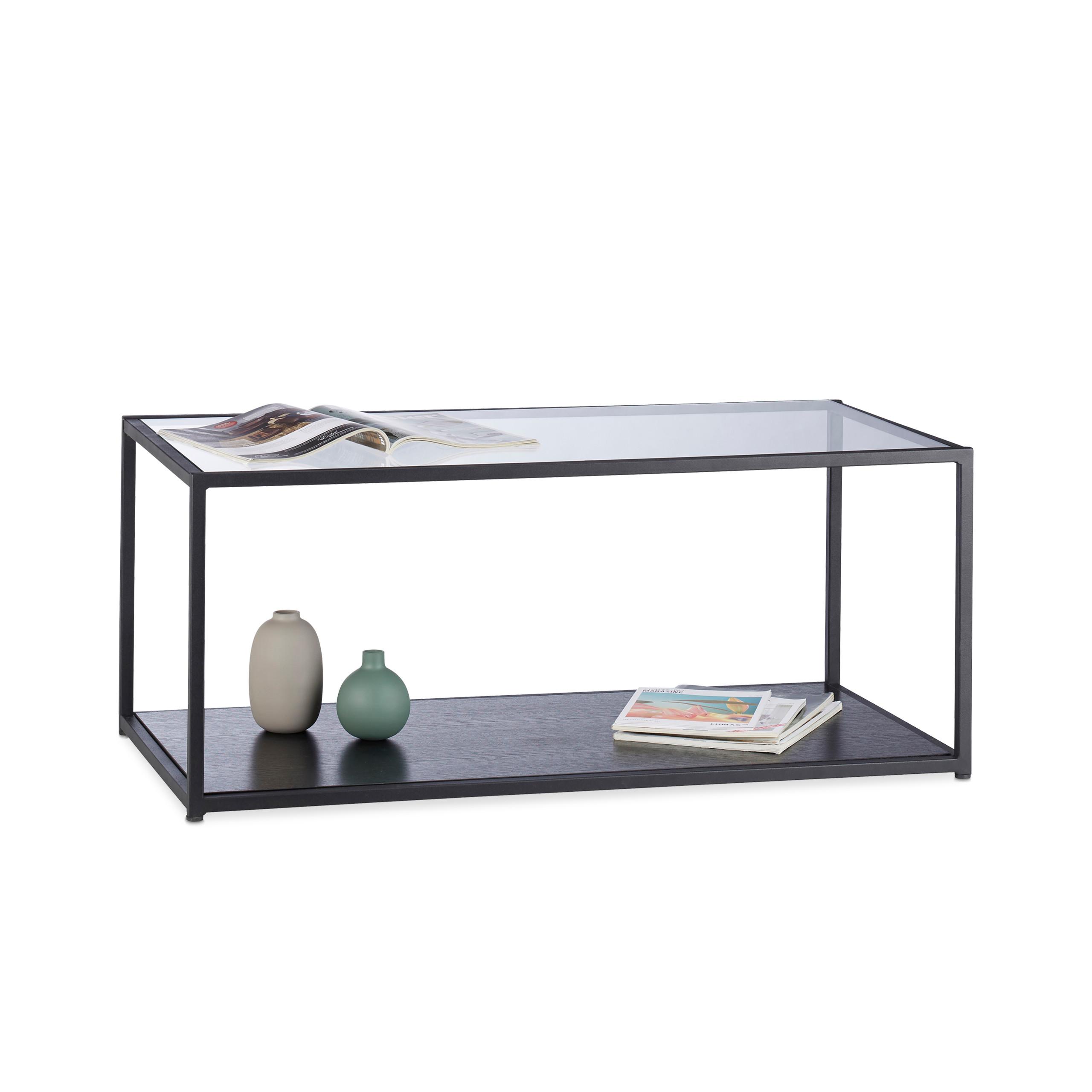 Détails sur Table basse en Verre, Surface noire Cadre en Métal, Table de  Salon, Petite table