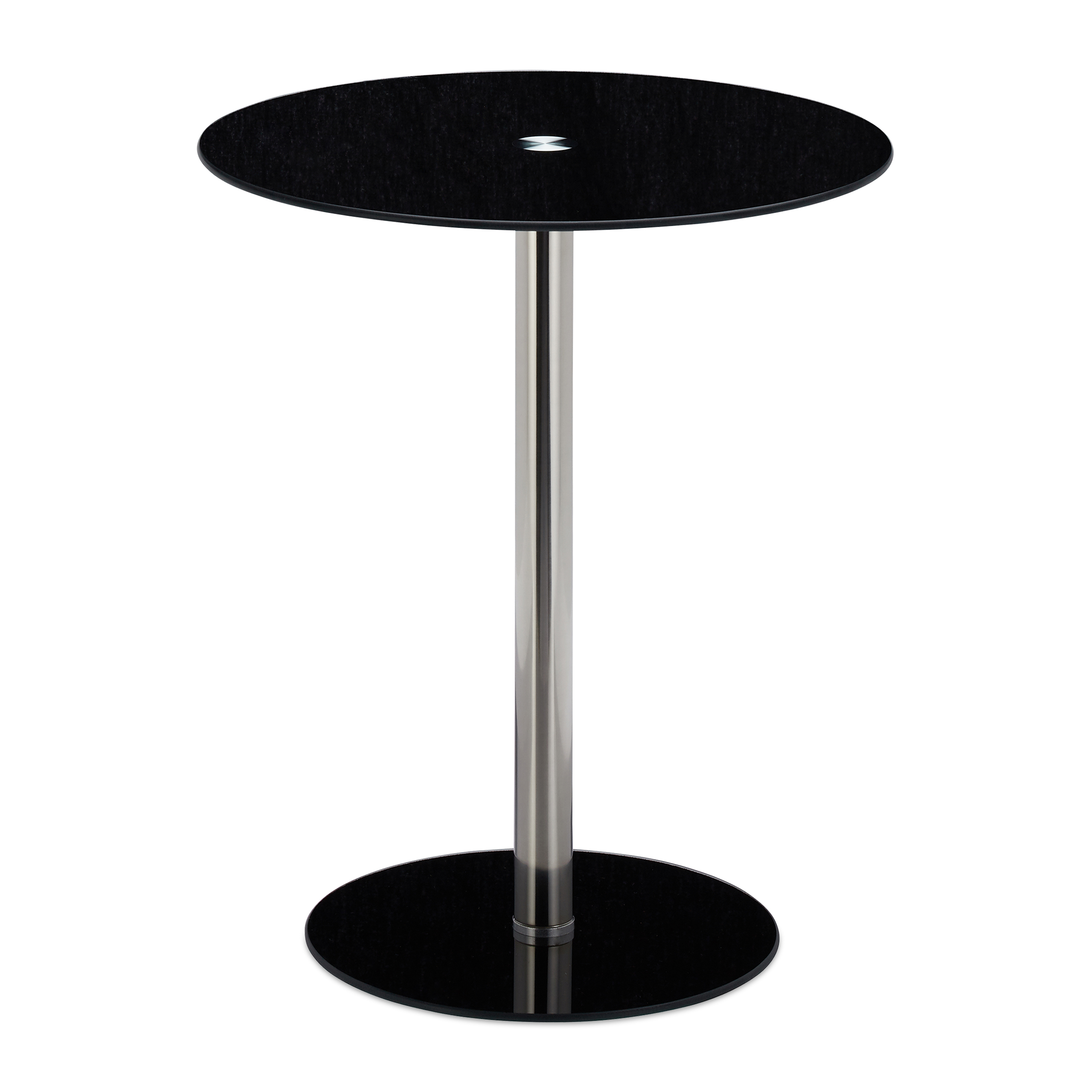 Beistelltisch glas edelstahl rund designertisch sofatisch for Sofatisch rund