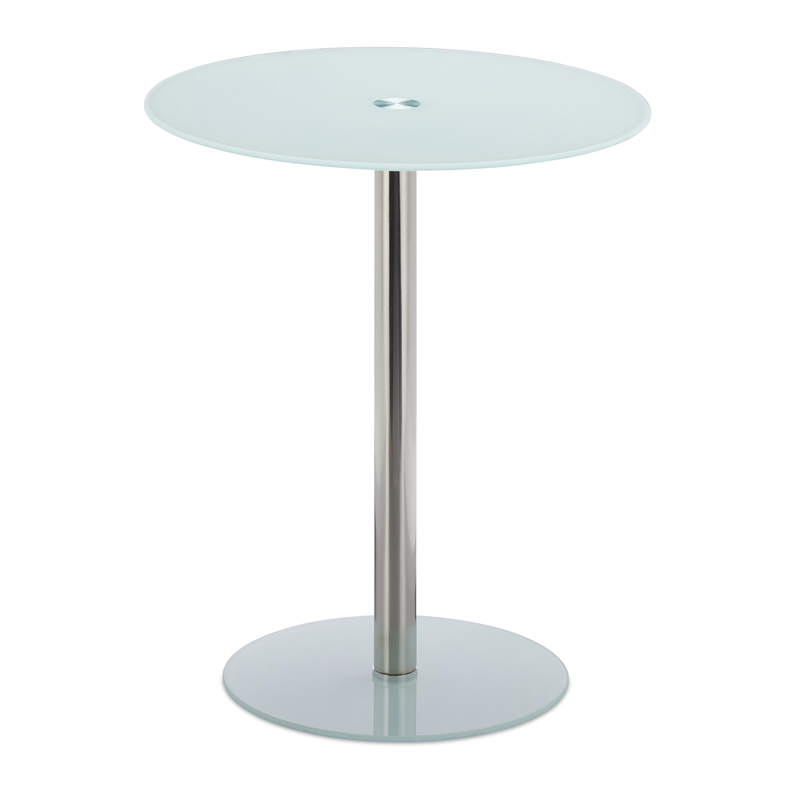beistelltisch glas edelstahl rund designertisch sofatisch kaffeetisch ziertisch ebay. Black Bedroom Furniture Sets. Home Design Ideas