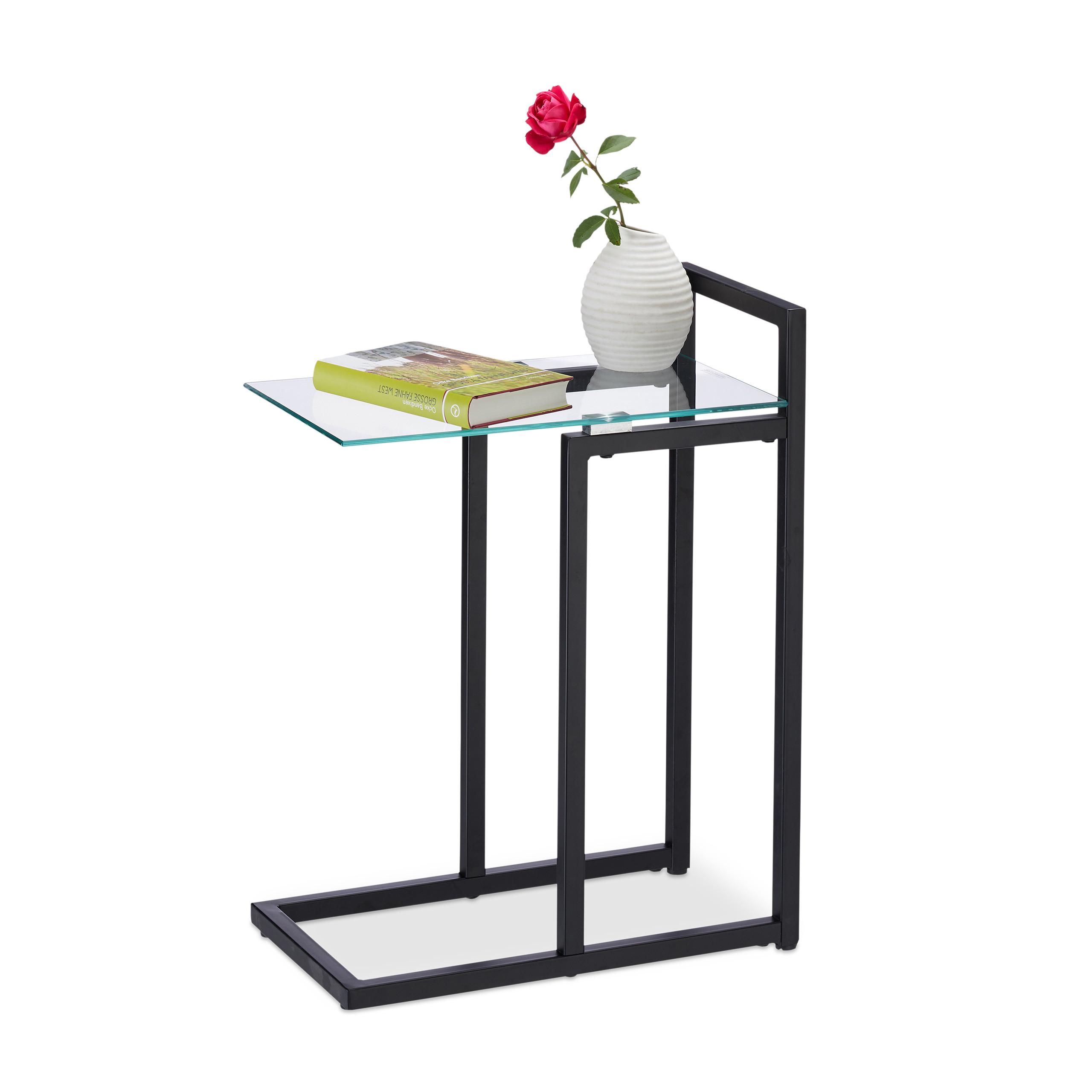 beistelltisch metall glas dekotisch kleiner couchtisch glasplatte mehrere farben ebay On kleiner couchtisch glas