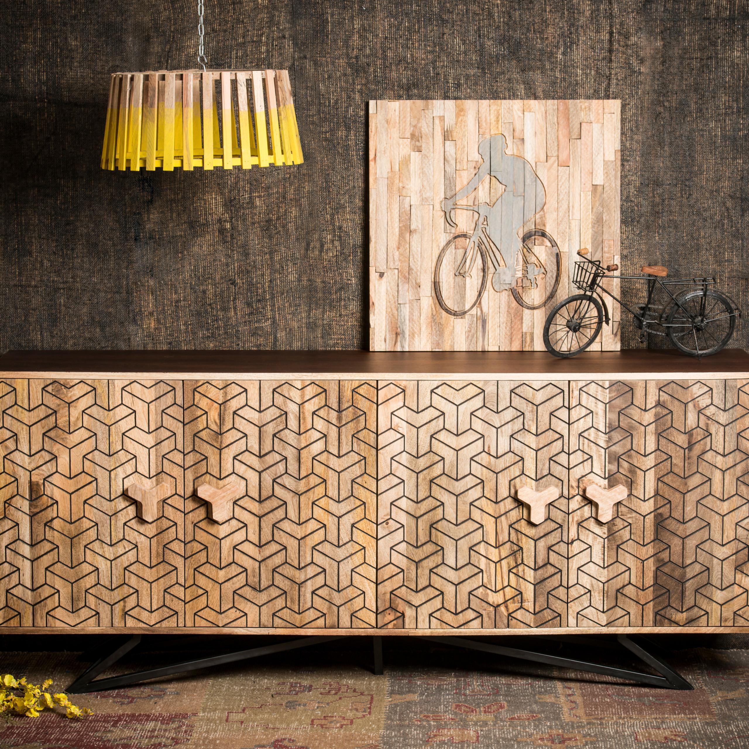 Buffet-bois-Sideboard-commode-bois-de-manguier-meuble-rangement-commode-cuisine miniature 2