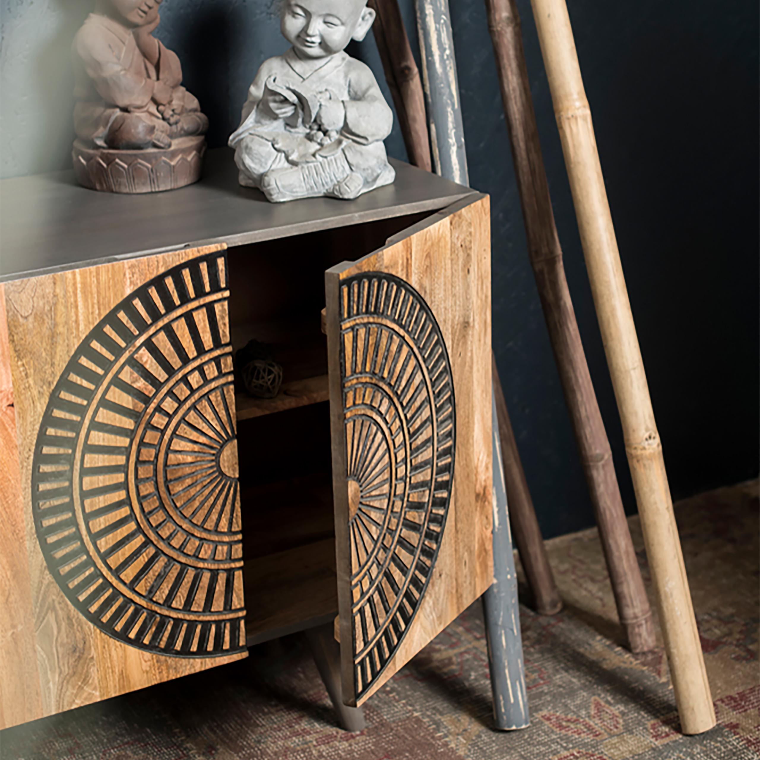 Sideboard asiatisch, Kommode aus Holz, Anrichte braun ...