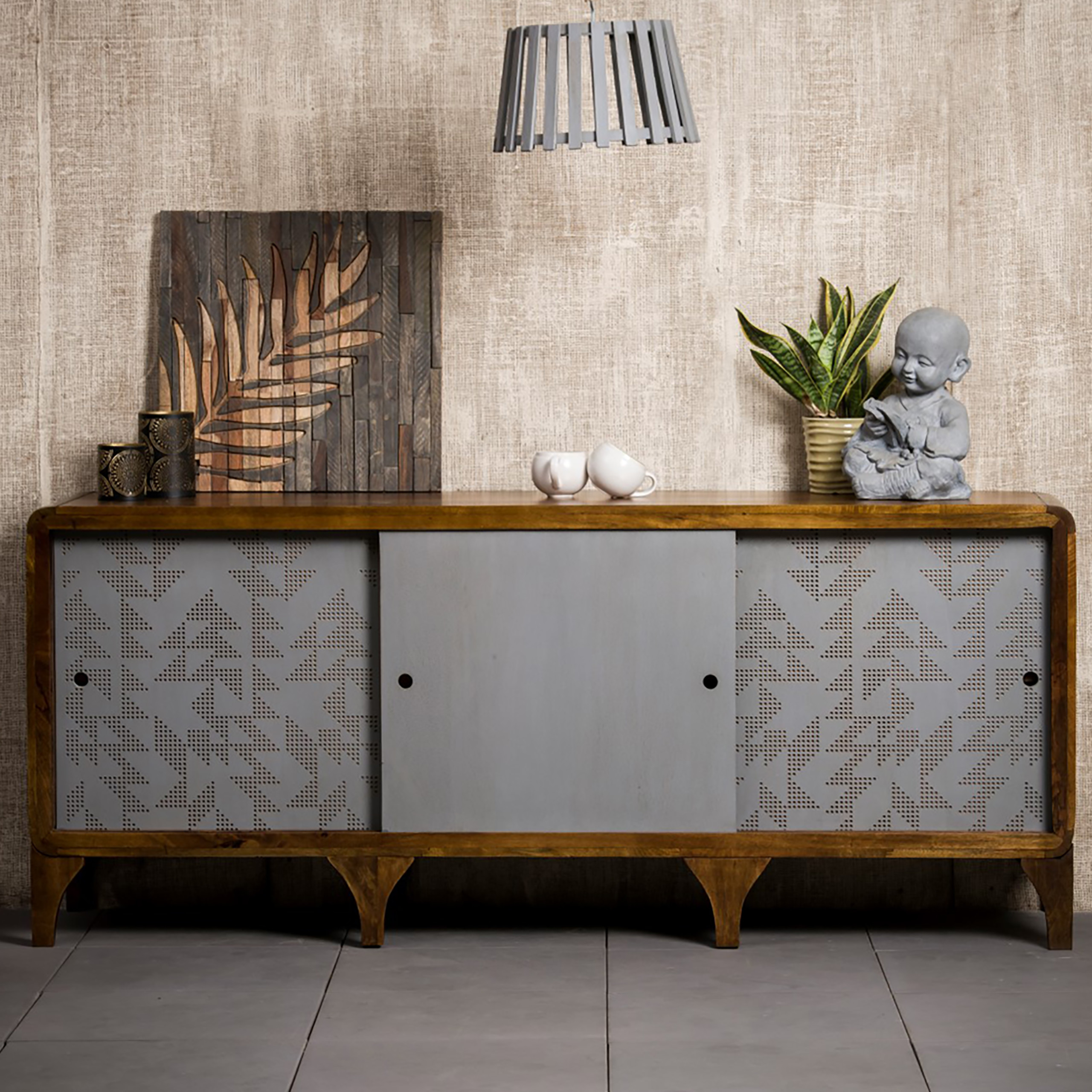 Details About 180 Cm Wooden Sideboard Kitchen Buffet Stand Modern Living Room Cabinet Brown