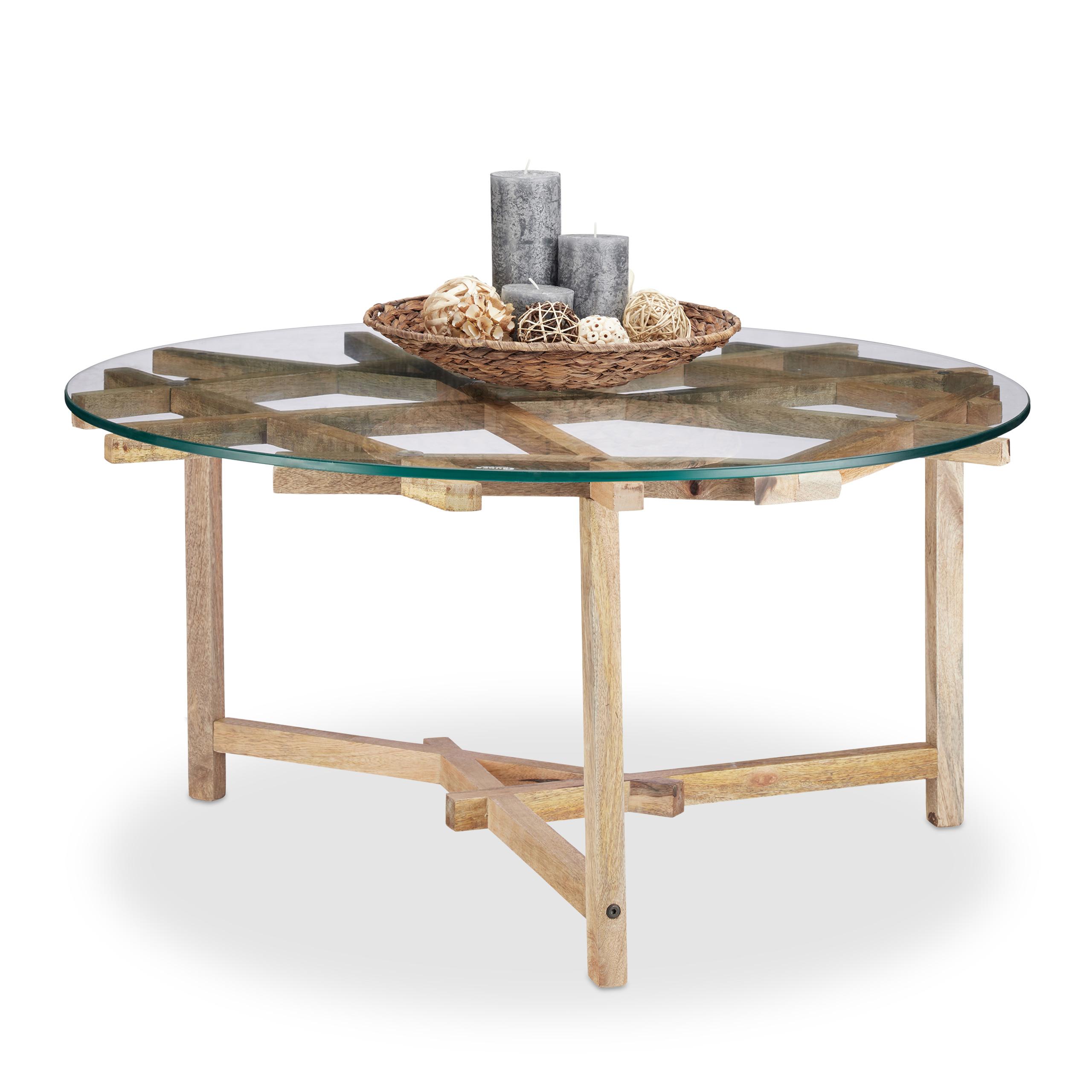 Détails sur Table de Salon Ronde Petite Table Canapé Bois & Verre Table  Basse Moderne 90x90