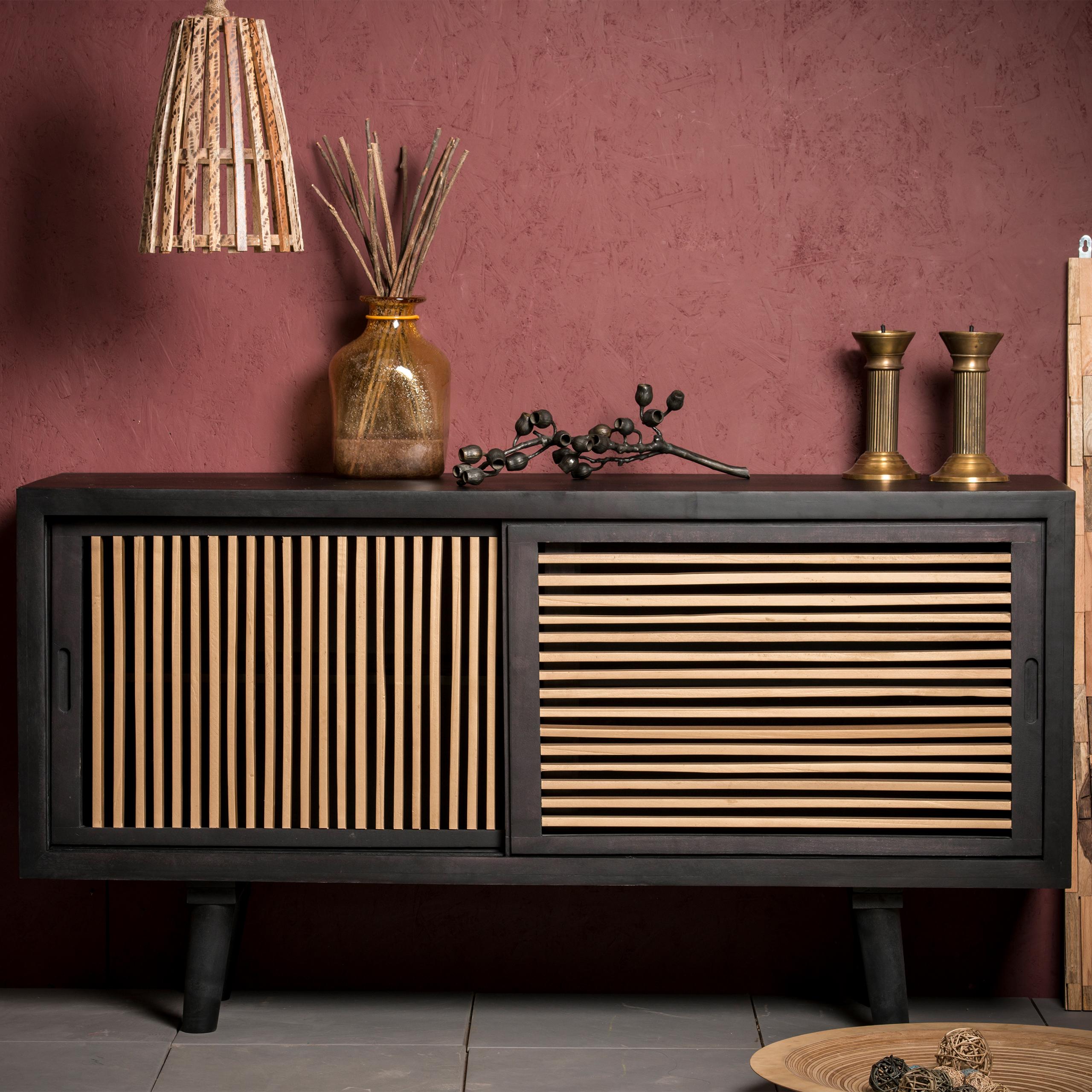 sideboard holz anrichte k che wohnzimmerschrank modern kommode braun 160 cm ebay. Black Bedroom Furniture Sets. Home Design Ideas