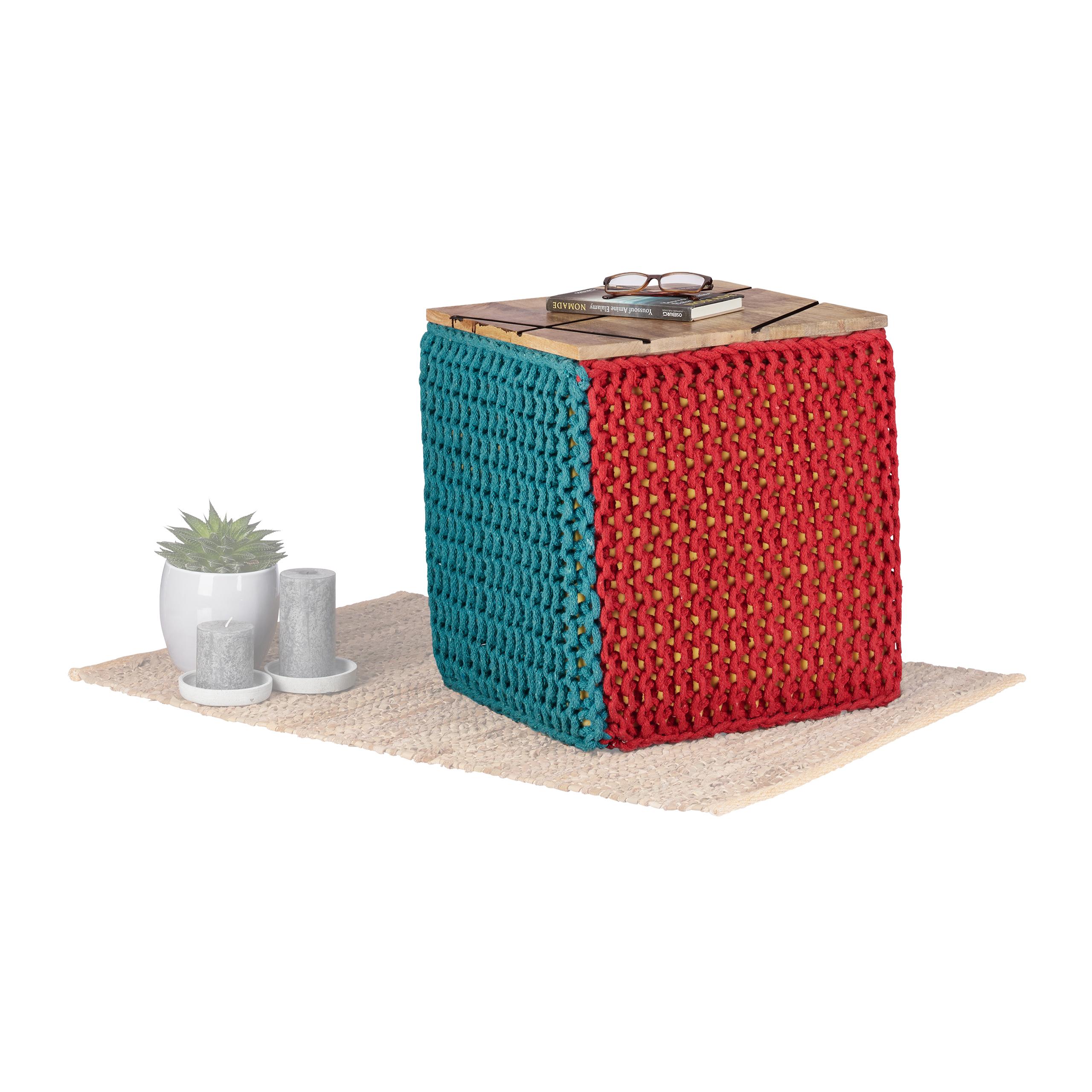 Tabouret-De-2en1-Siege-40x40-Petite-Table-d-Appoint-Basse-Pouf-Cube-Rouge-Bleu miniature 2