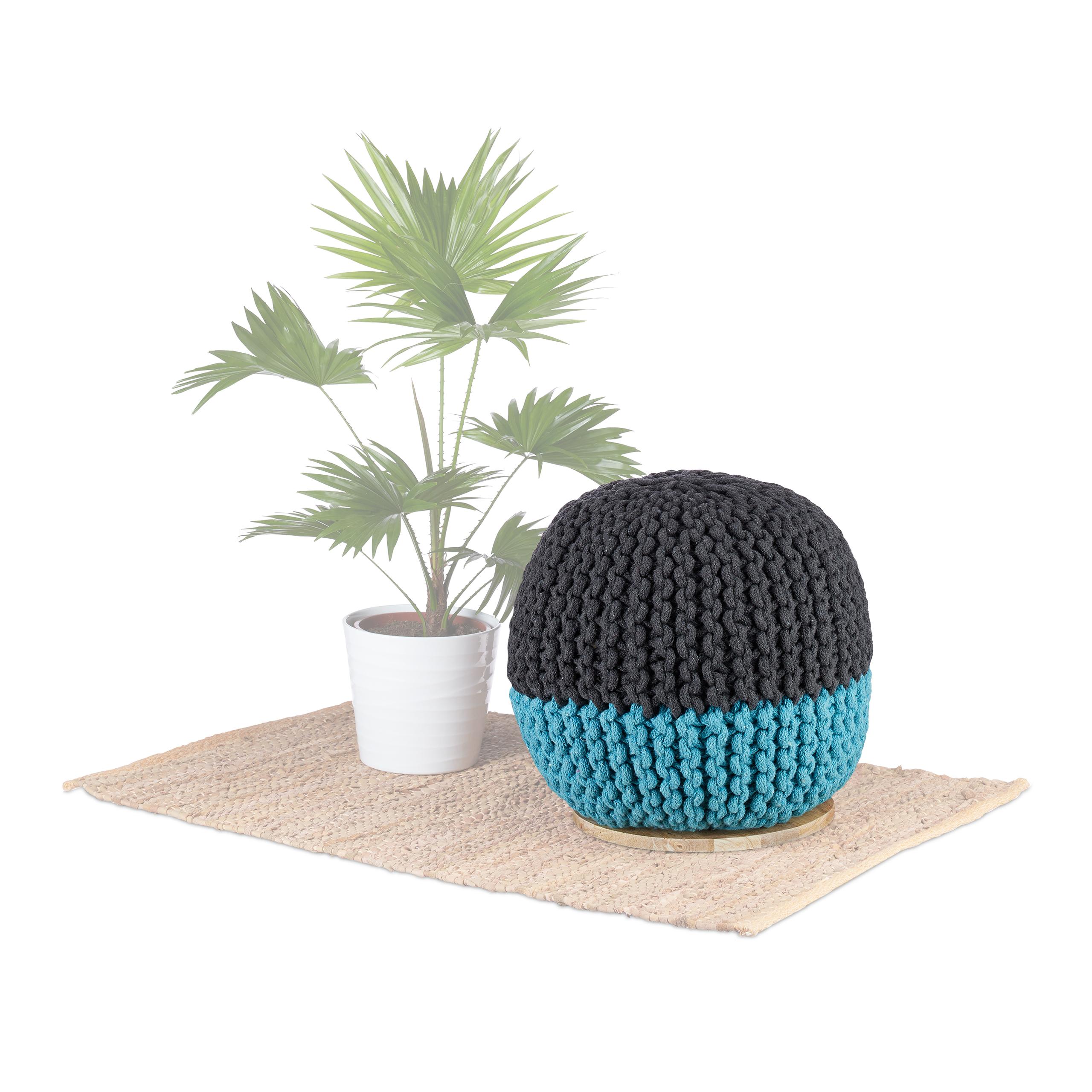 Pouf-2-en-1-Tabouret-40x40-Petite-Table-d-Appoint-Ronde-Basse-Boule-Bleu-Gris miniature 2