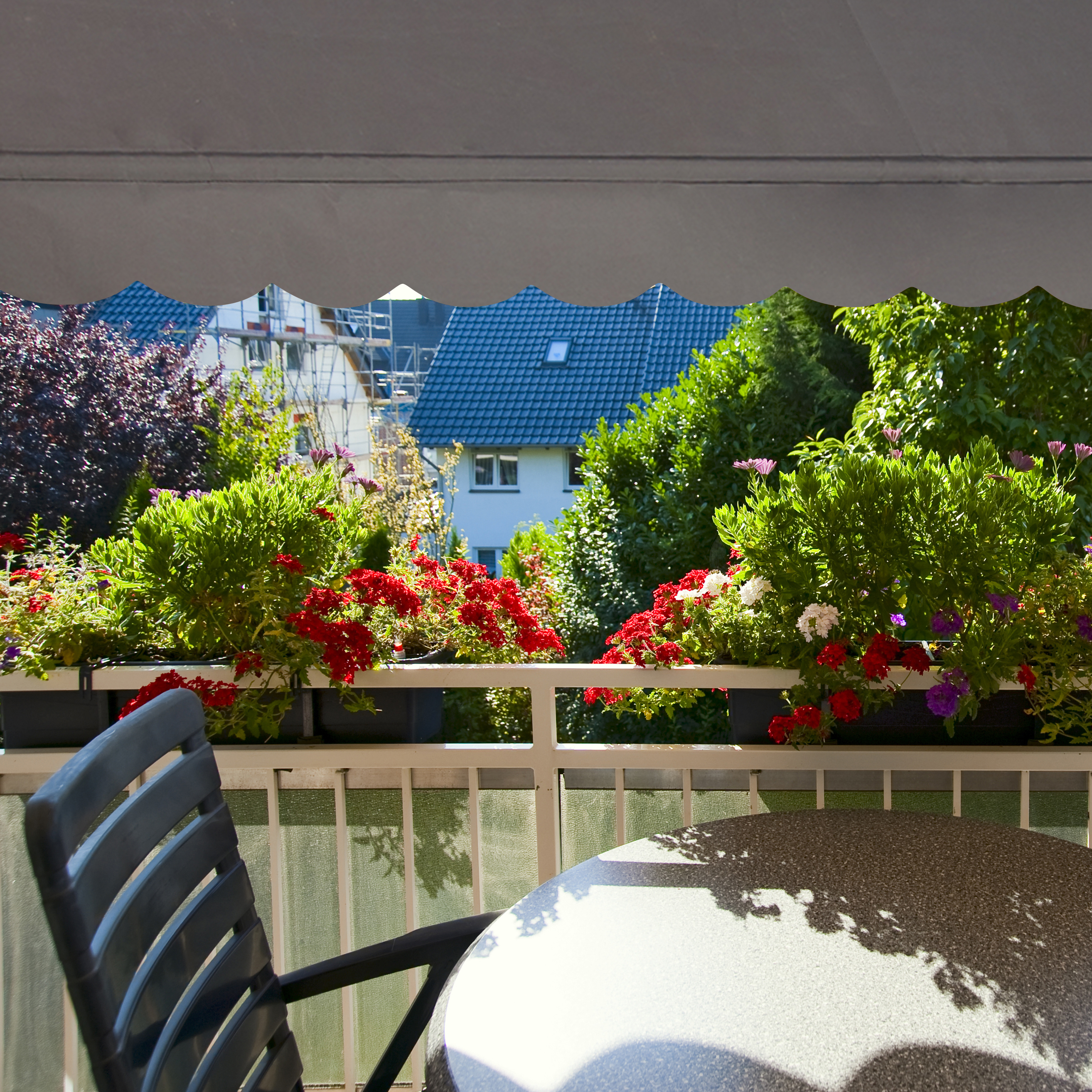 klemmmarkise balkon markise balkonmarkise sonnenmarkise sonnendach grau gestell ebay. Black Bedroom Furniture Sets. Home Design Ideas