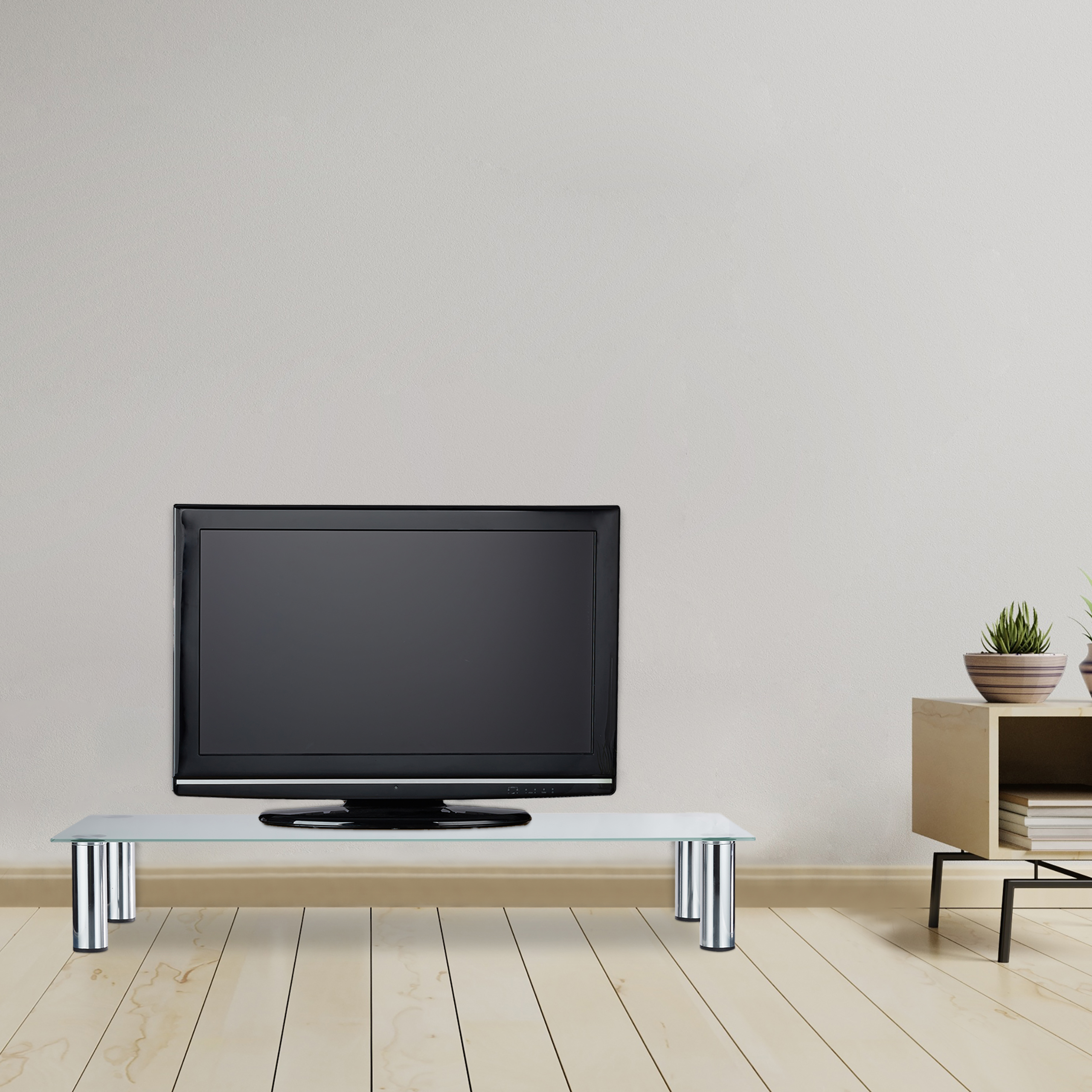 tv tisch glas glastisch bildschirmerh hung tv aufsatz. Black Bedroom Furniture Sets. Home Design Ideas