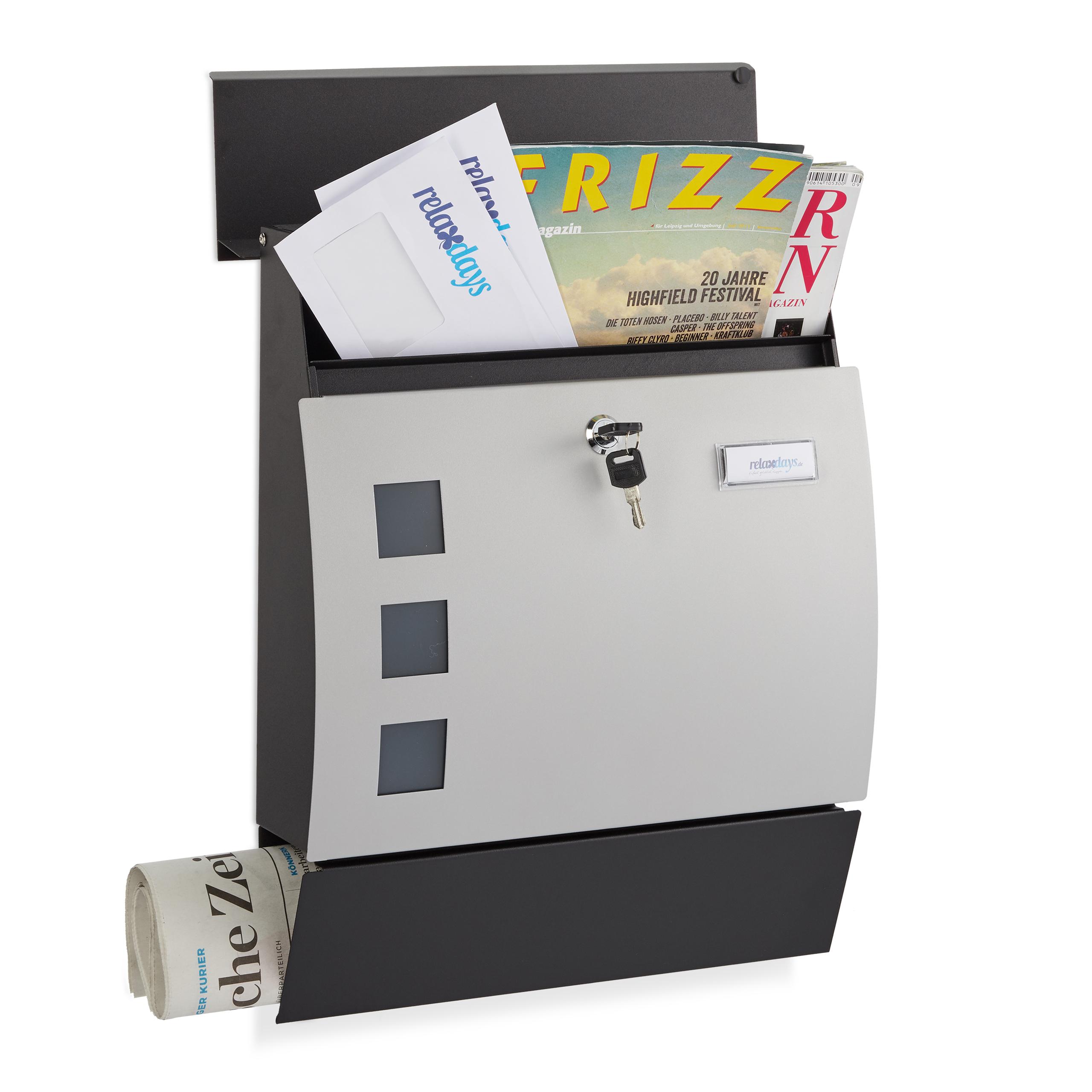 Boite-aux-Lettres-Demi-ronde-Serrure-Plaque-etiquette-Boite-postale-noir-argente miniature 2