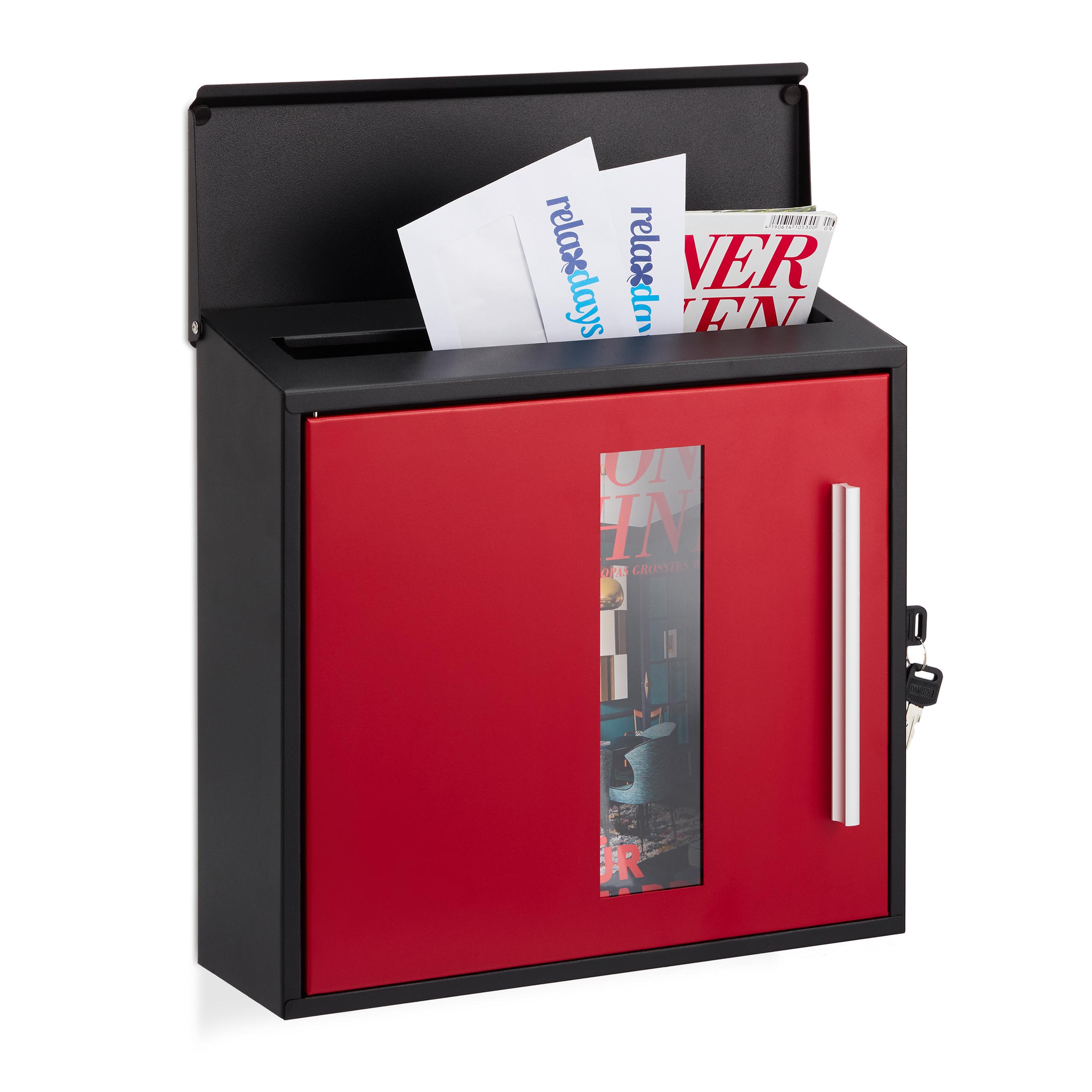 Boite-aux-lettres-Fermant-a-cle-Fenetre-Boite-postale-Courrier-noir-rouge miniature 2