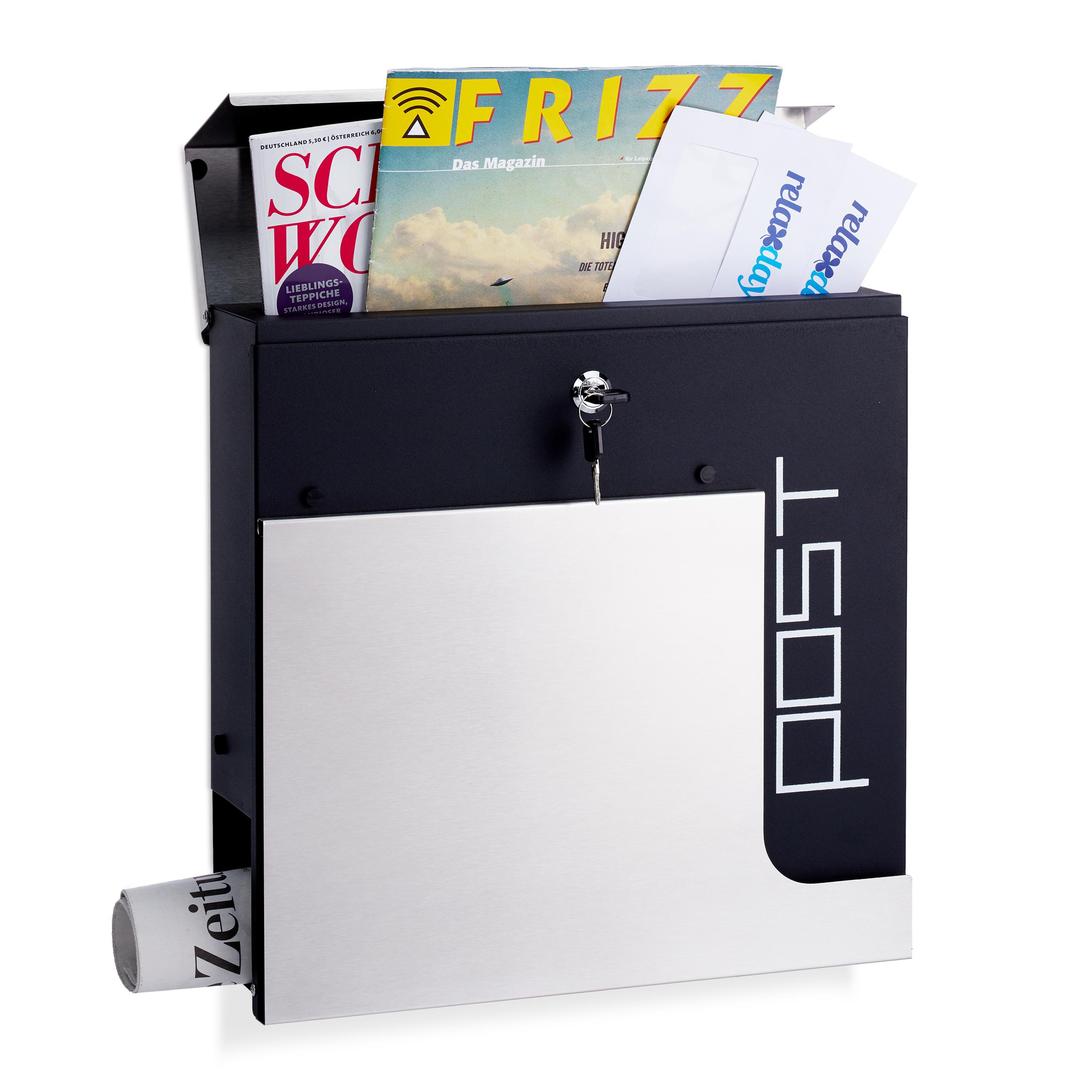 Boite-aux-lettres-elegante-Serrure-Porte-journaux-Format-A4-Boite-postale-argent miniature 2