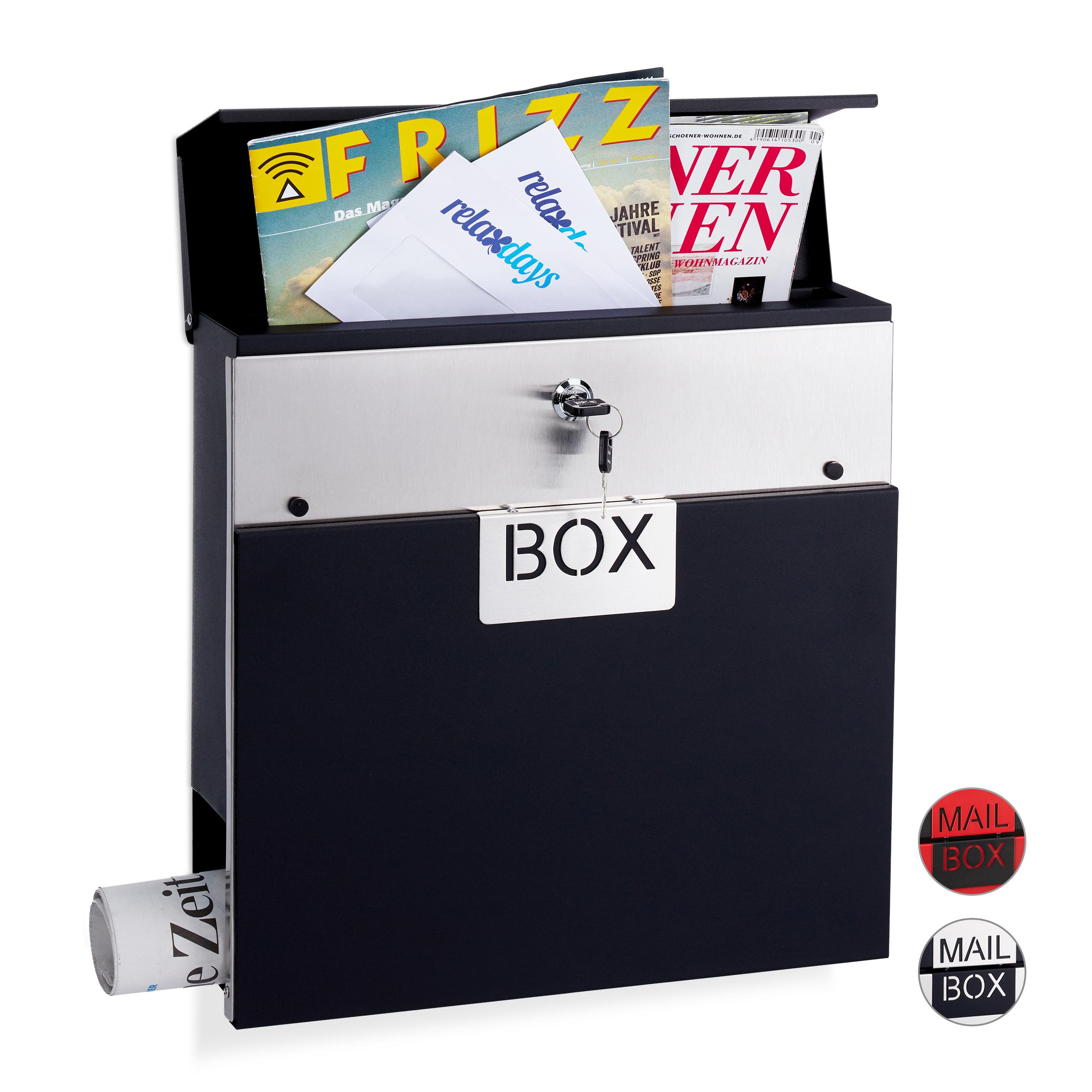 Briefkasten Wandbriefkasten Postkasten Postbox mit Zeitungsfach Brief Silber