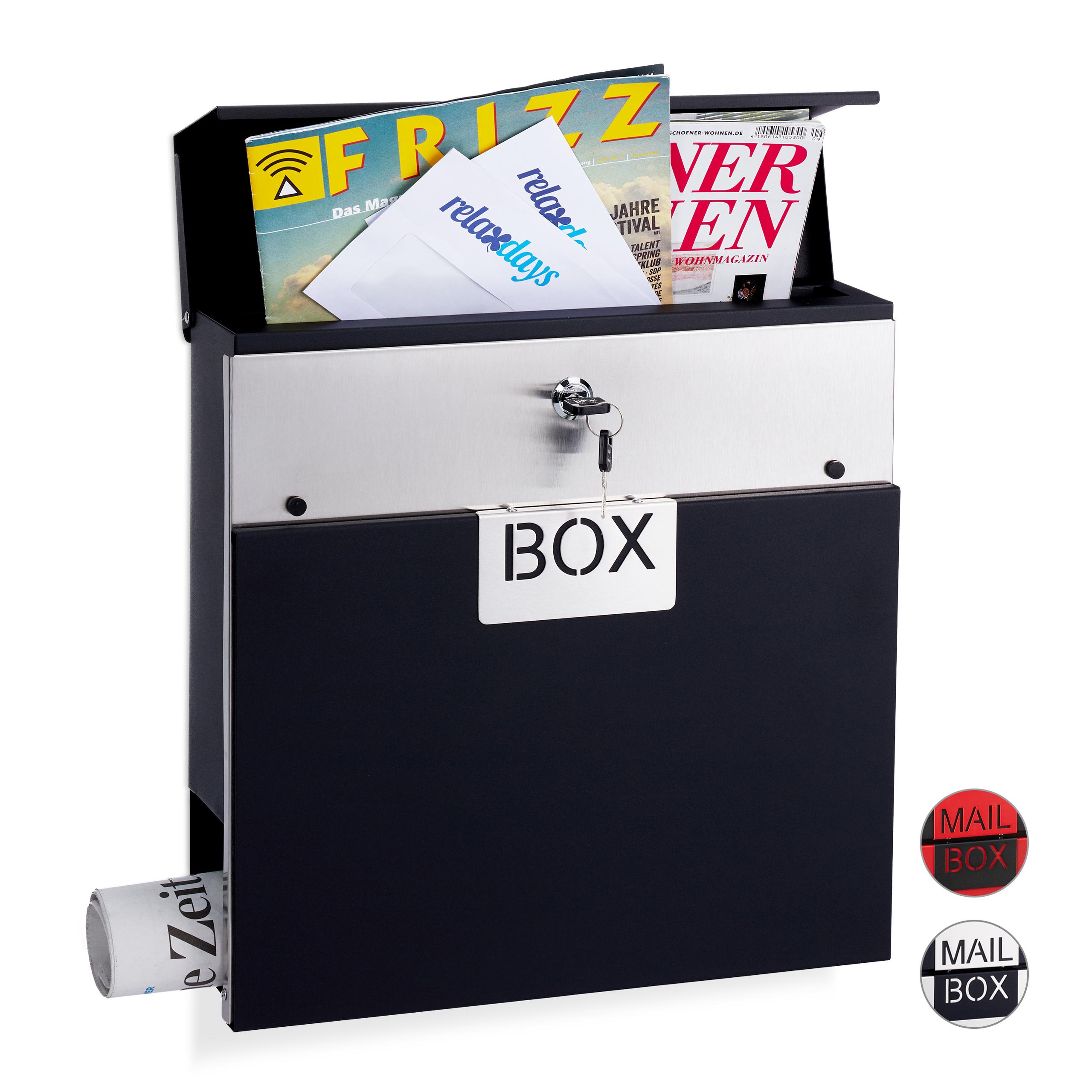 Boite-aux-lettres-Fermant-a-cle-Porte-journaux-Format-A4-Boite-postale-rouge miniature 2